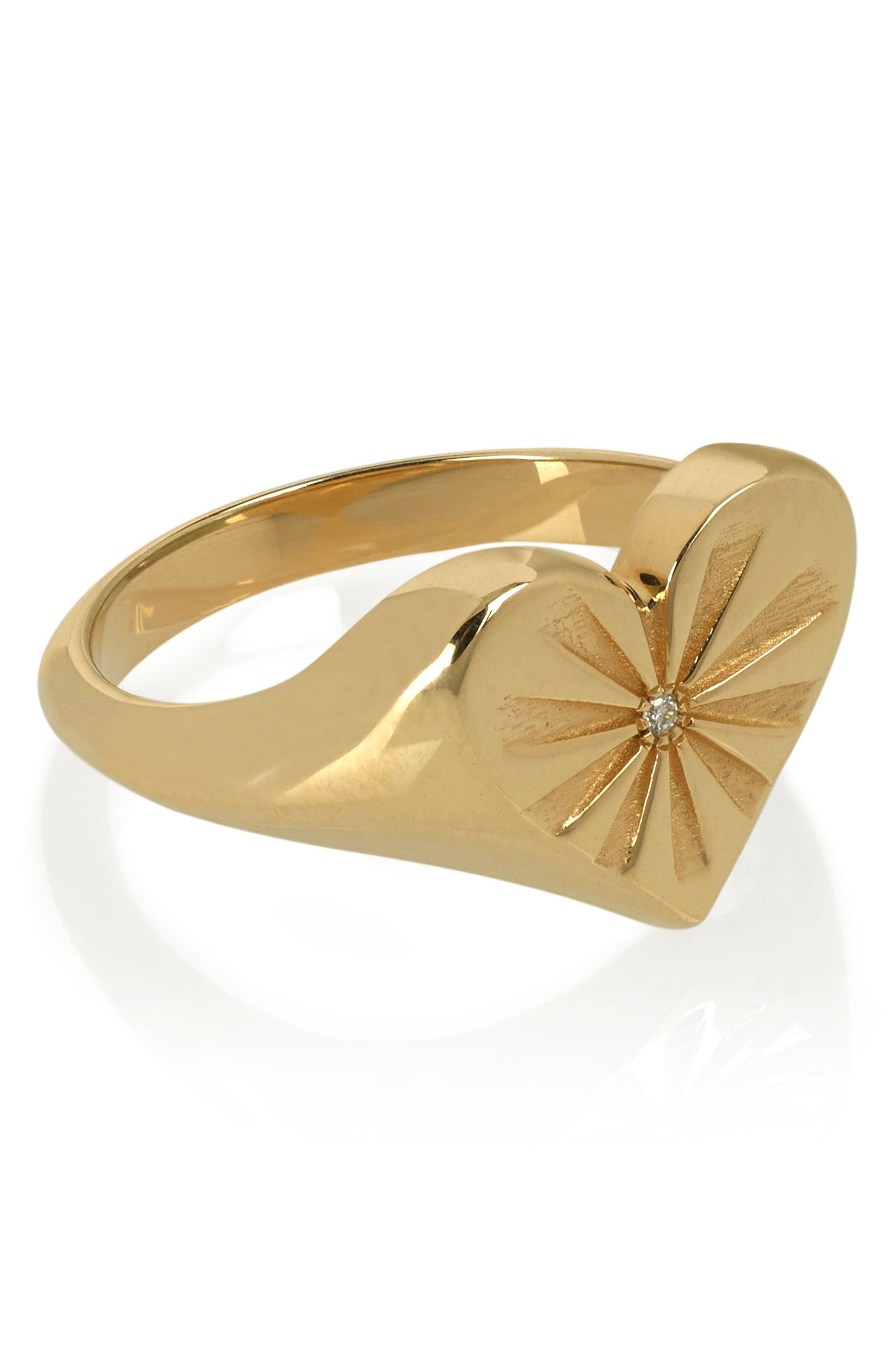 Heart Pinky Ring,                             Alternate thumbnail 3, color,                             YELLOW GOLD