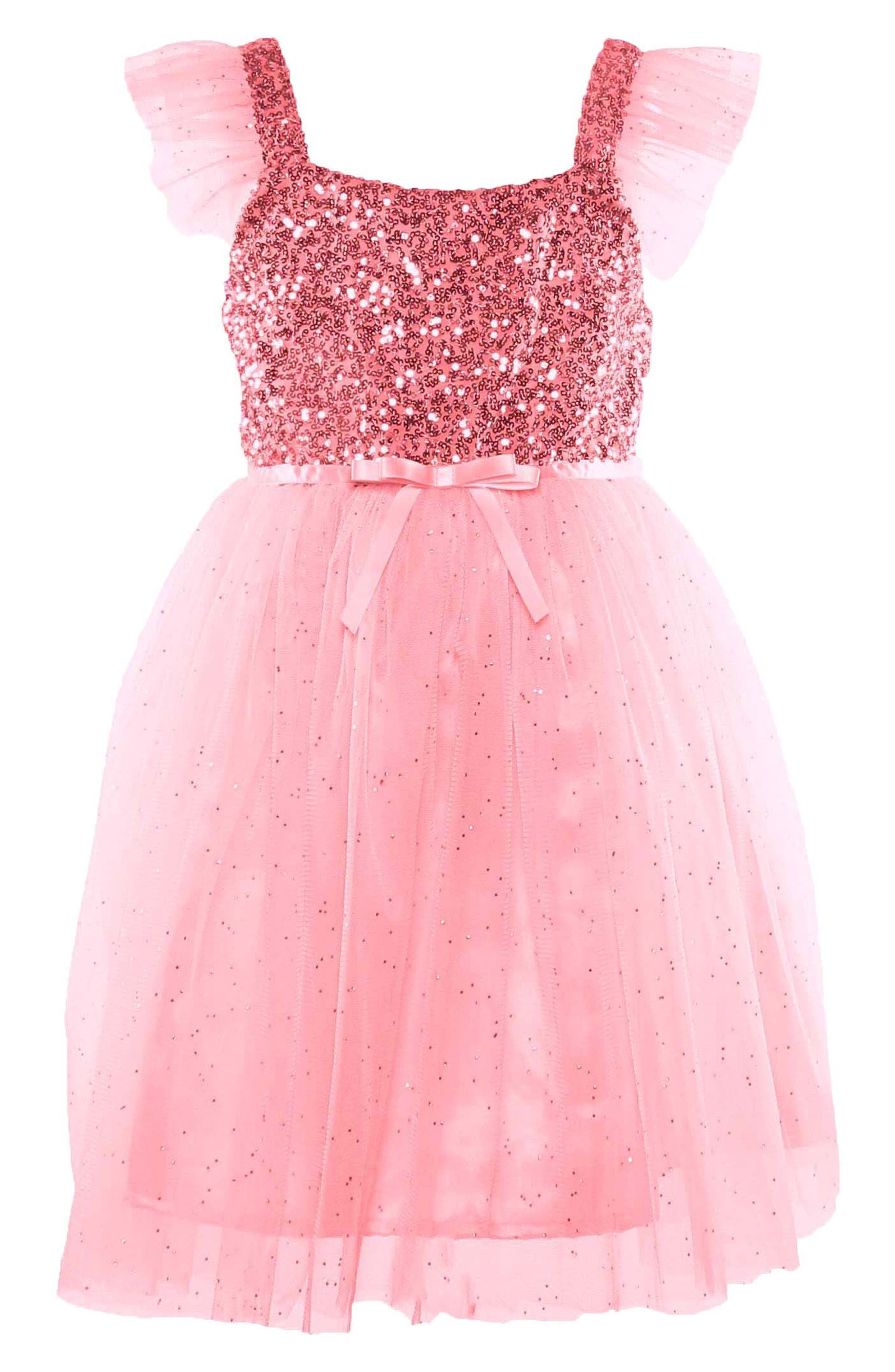 Toddler Girls Popatu Sequin Bodice Tulle Dress Size 3T  Pink