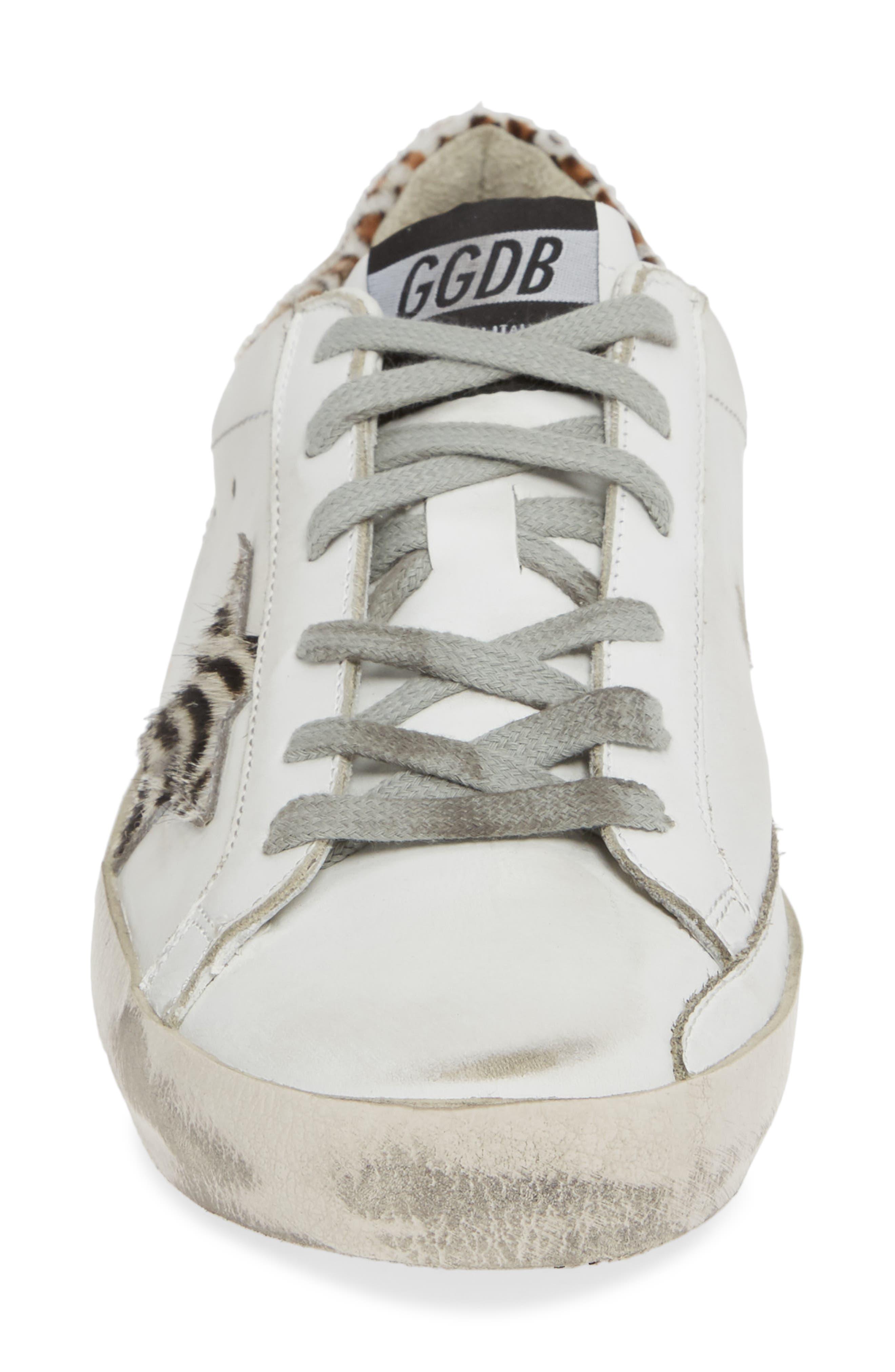 Superstar Genuine Calf Hair Sneaker,                             Alternate thumbnail 4, color,                             WHITE/ ZEBRA