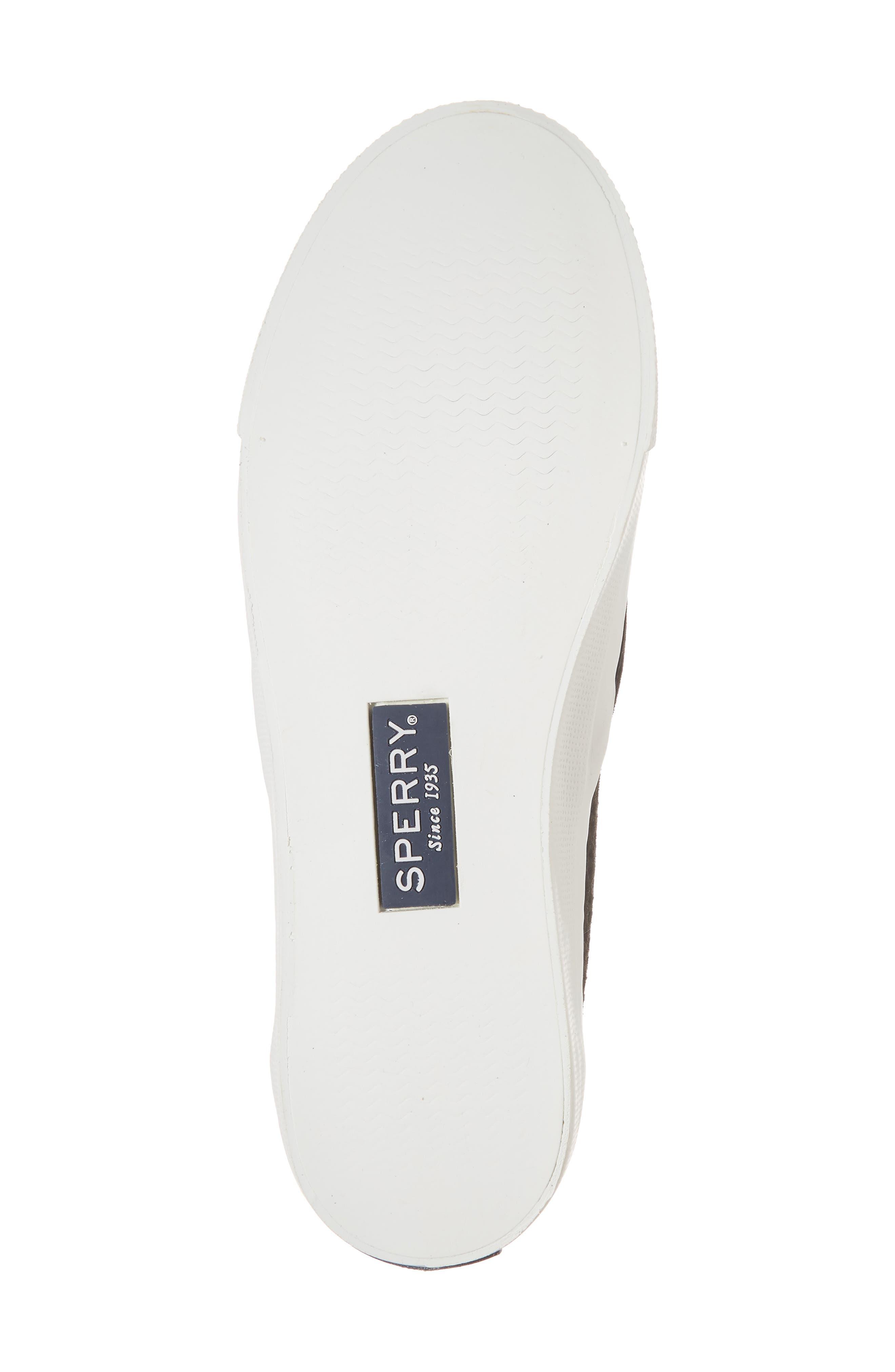 Seaside Nautical Perforated Slip-On Sneaker,                             Alternate thumbnail 6, color,                             BLACK LEATHER