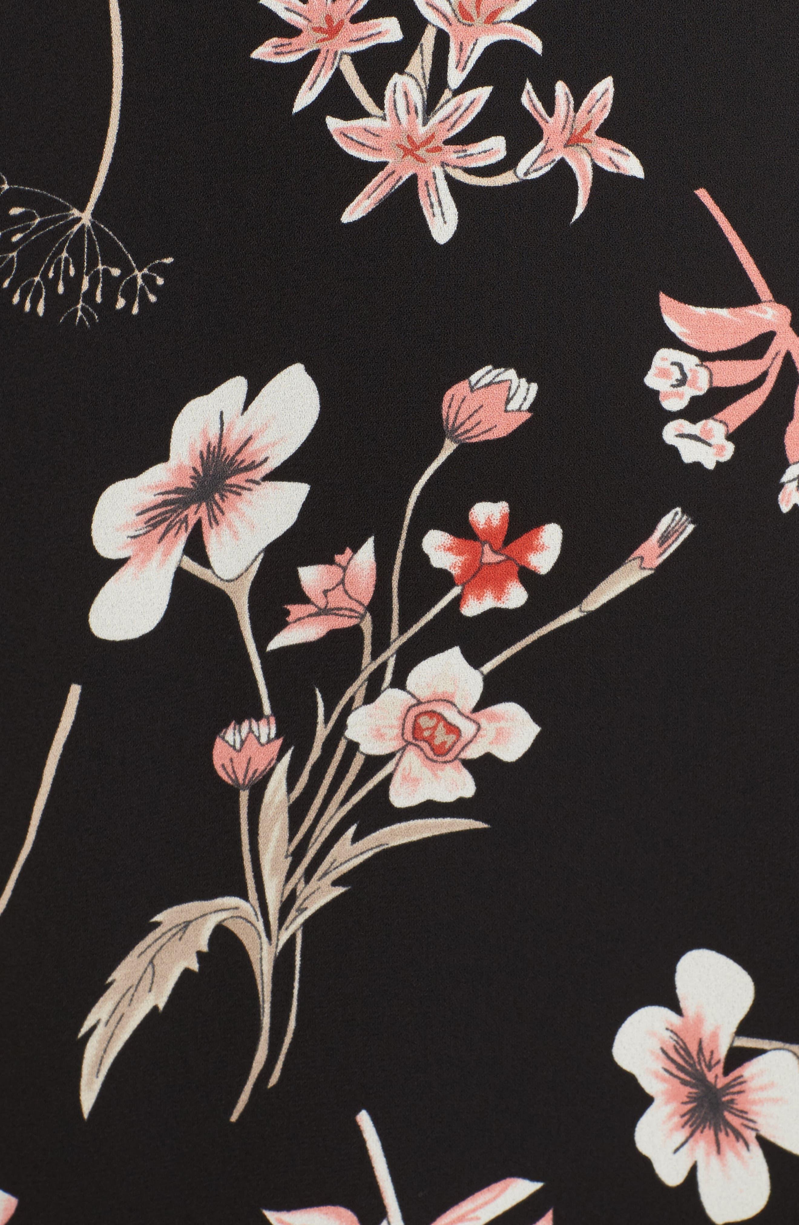 Floral Cold Shoulder Midi Dress,                             Alternate thumbnail 5, color,                             001