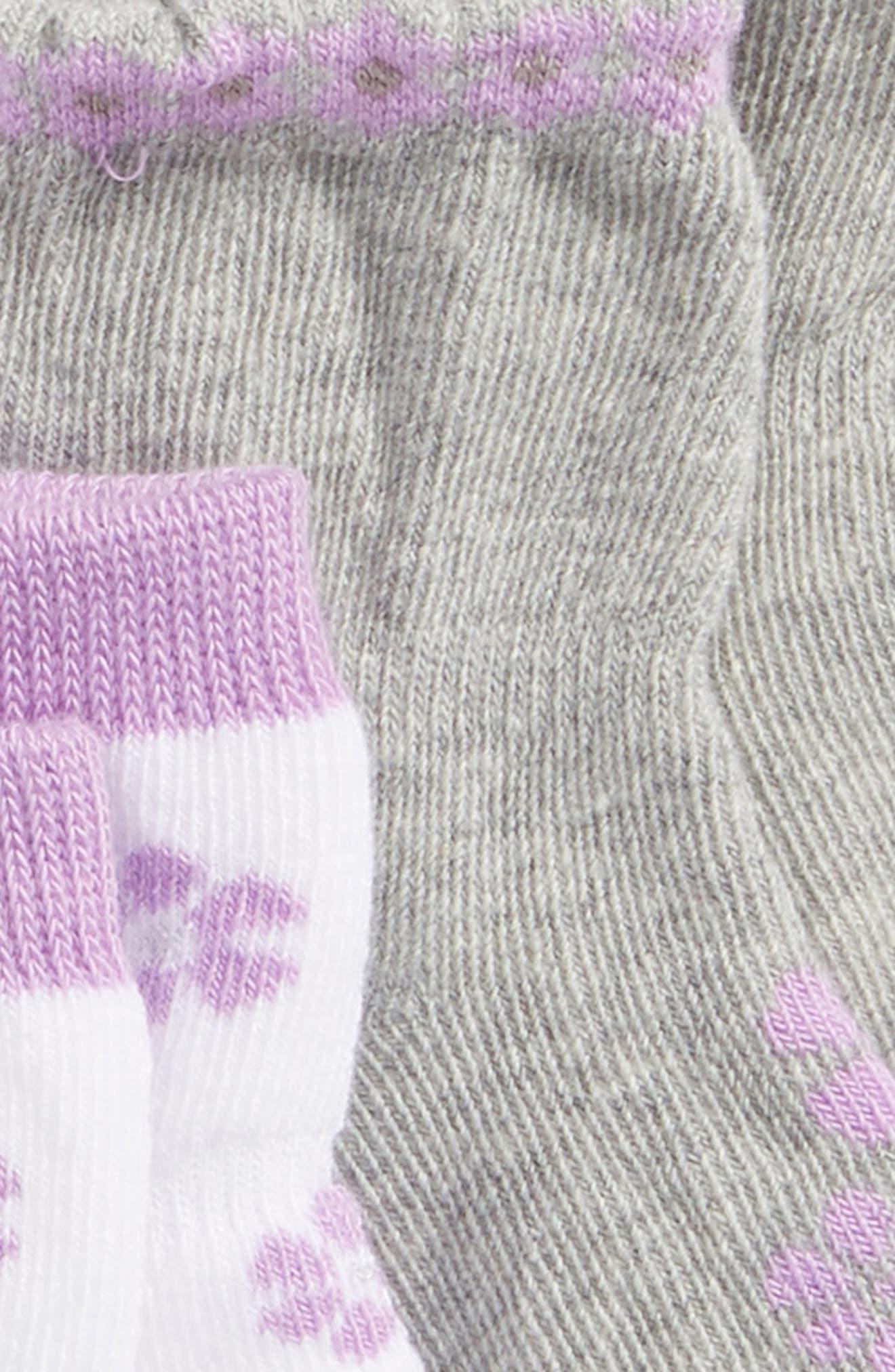 ROBEEZ<SUP>®</SUP>,                             Purple Flowers 3-Pack Socks,                             Alternate thumbnail 2, color,                             PURPLE/ GRAY/ WHITE