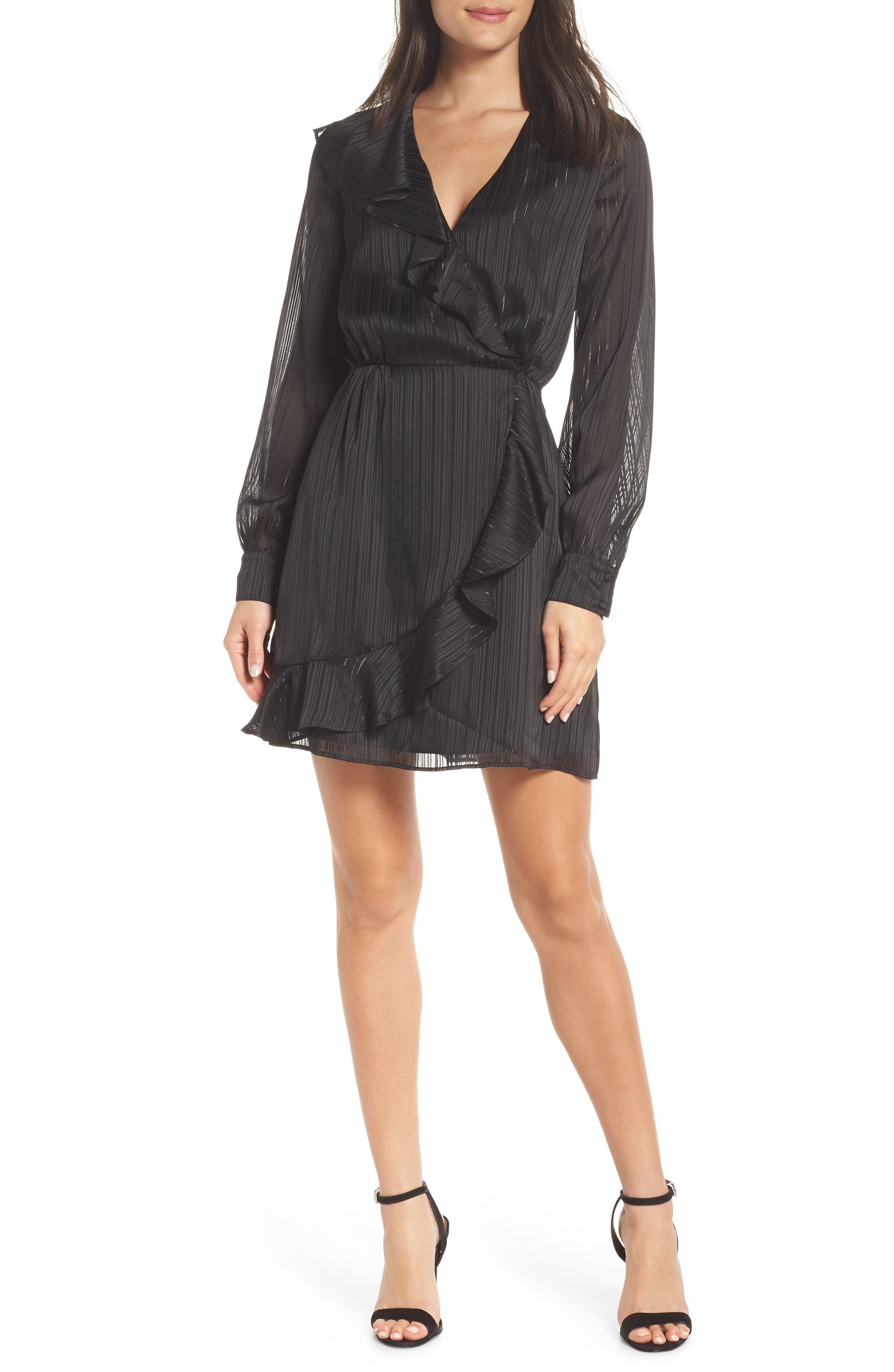 Chelsea28 Ruffle Front Dress, Black