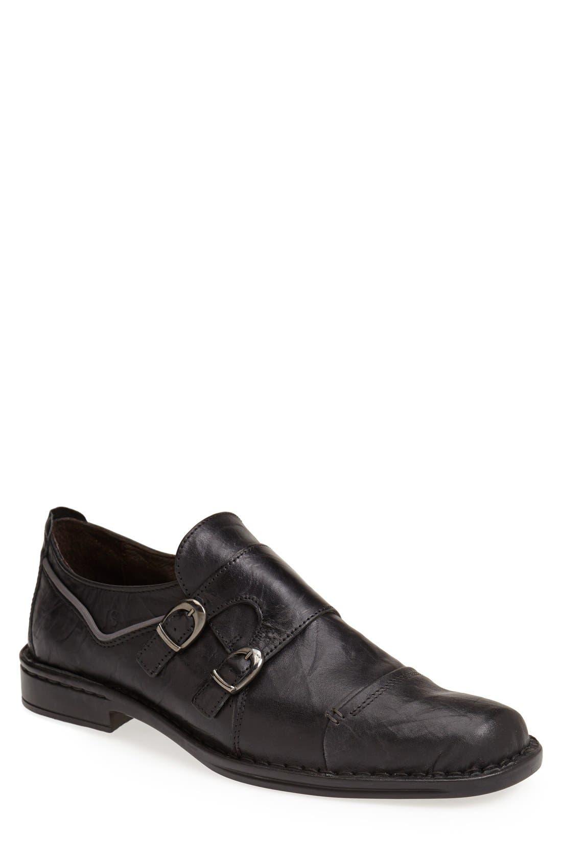 'Douglas 11' Double Monk Strap Shoe,                             Main thumbnail 1, color,                             BLACK