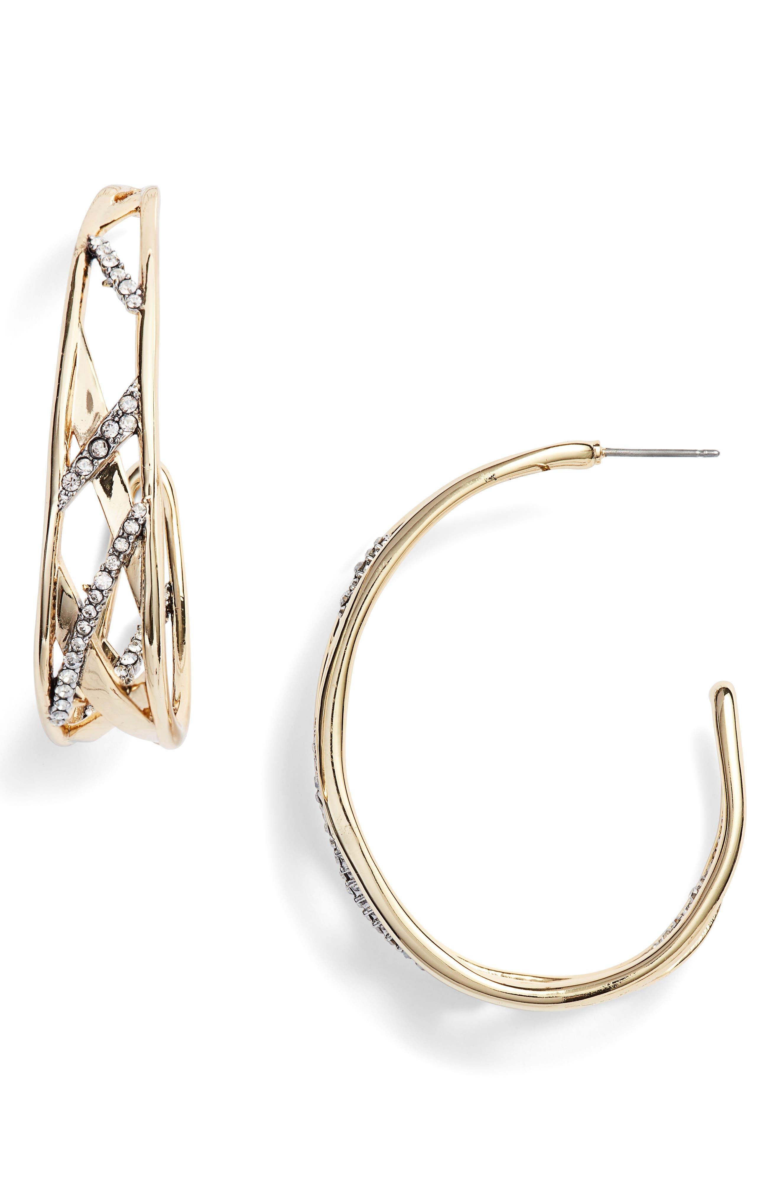 Plaid Hoop Earrings,                             Main thumbnail 1, color,                             GOLD/ SILVER