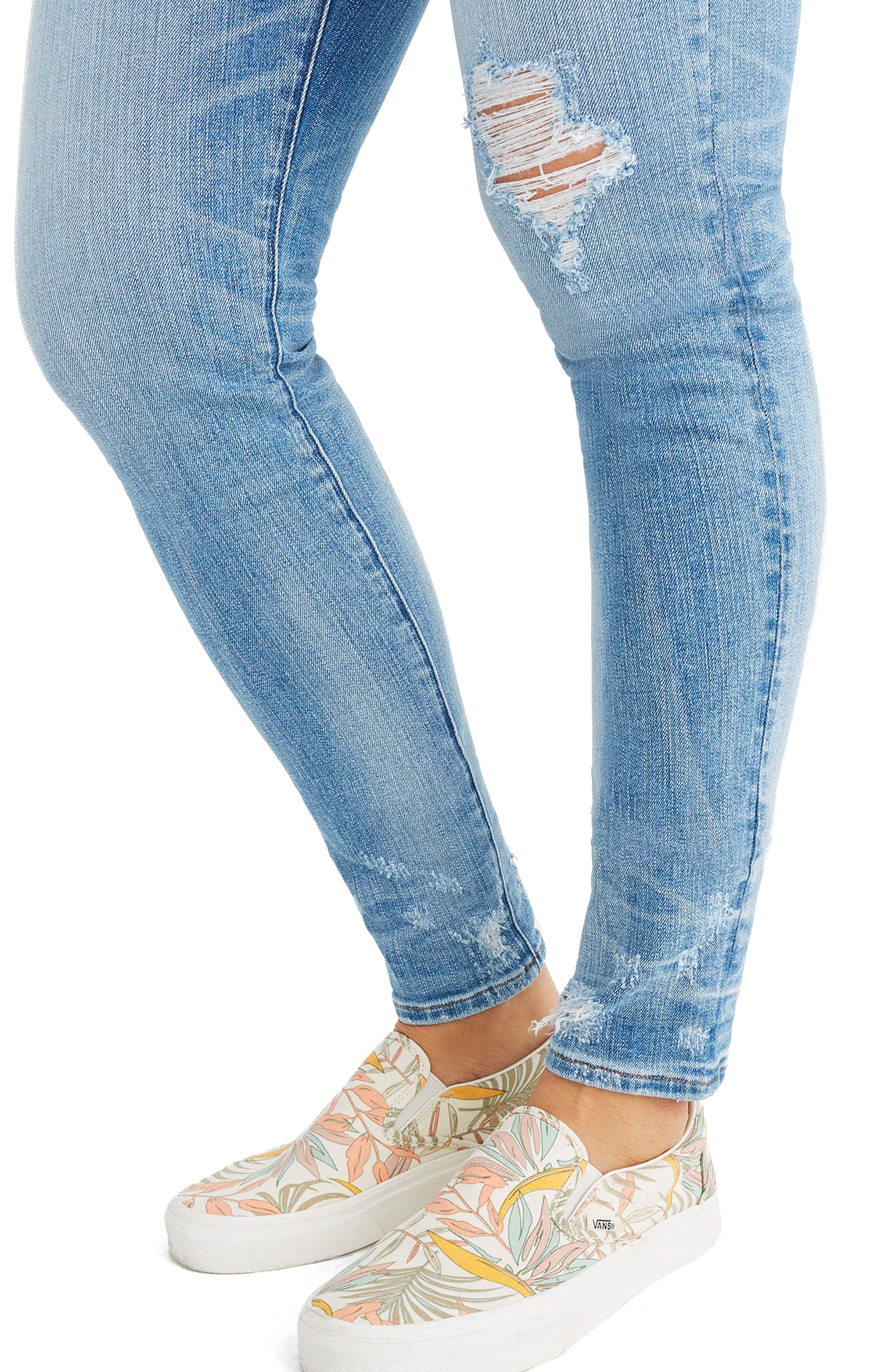 MADEWELL,                             9-Inch Destructed Hem High Waist Skinny Jeans,                             Alternate thumbnail 6, color,                             400