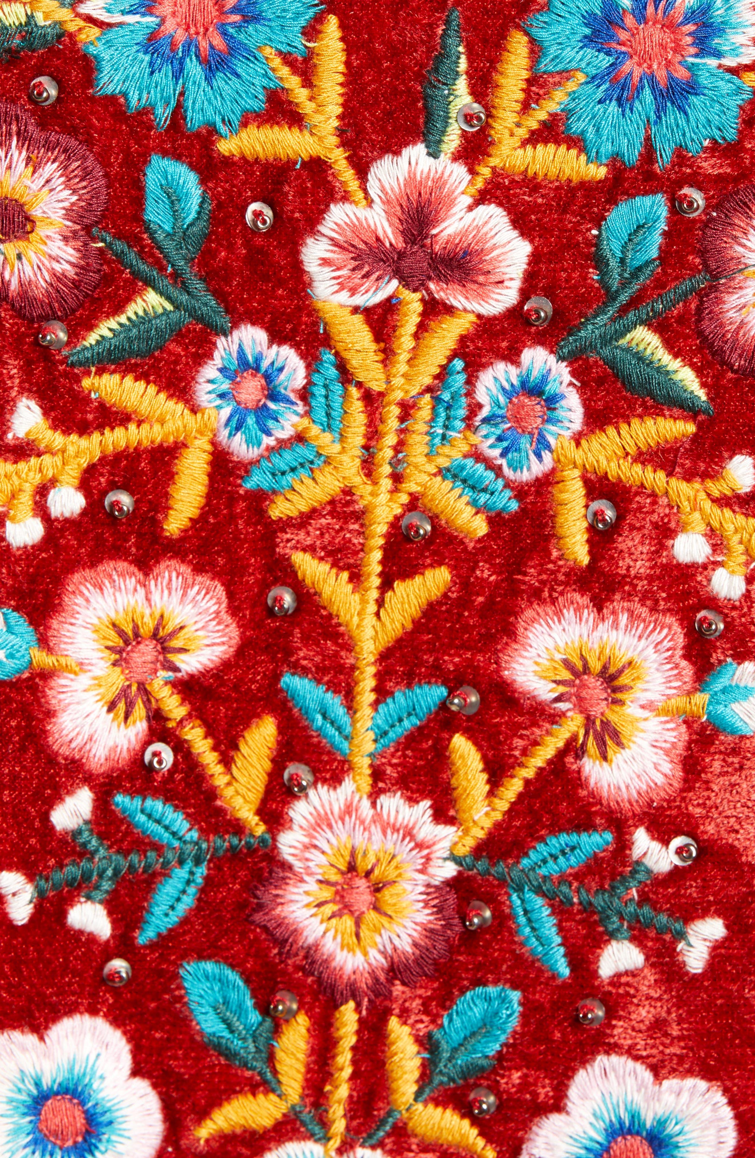 Embroidered Velvet Jacket,                             Alternate thumbnail 7, color,                             RED