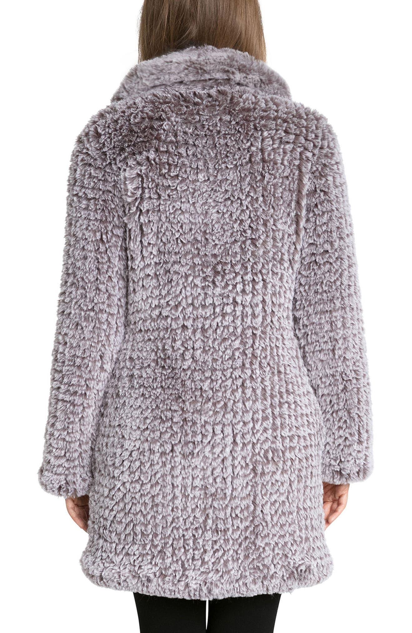 Knit Faux Fur Coat,                             Alternate thumbnail 2, color,                             022