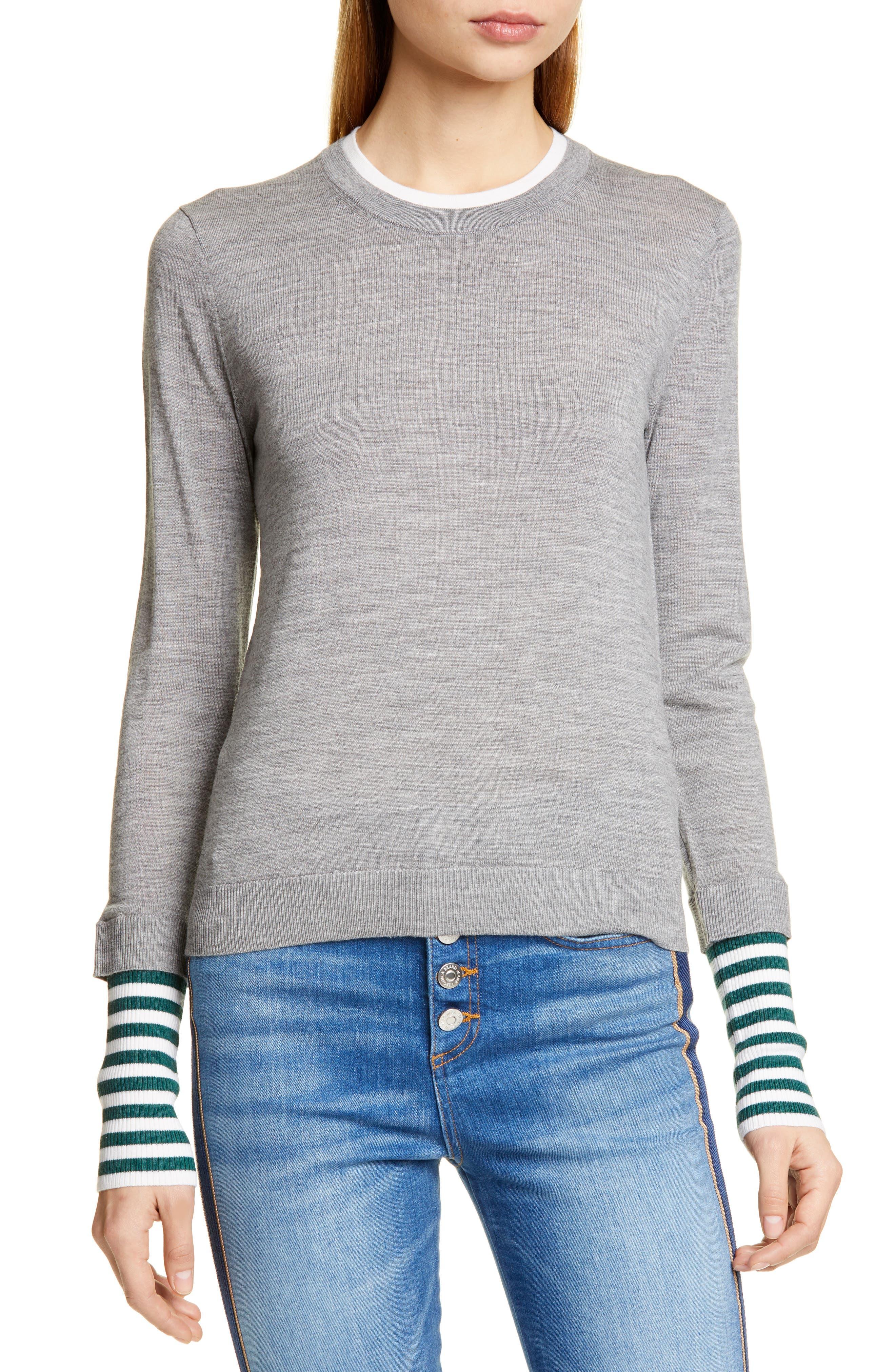 Veronica Beard Avory Contrast Cuff Merino Wool Sweater, Grey