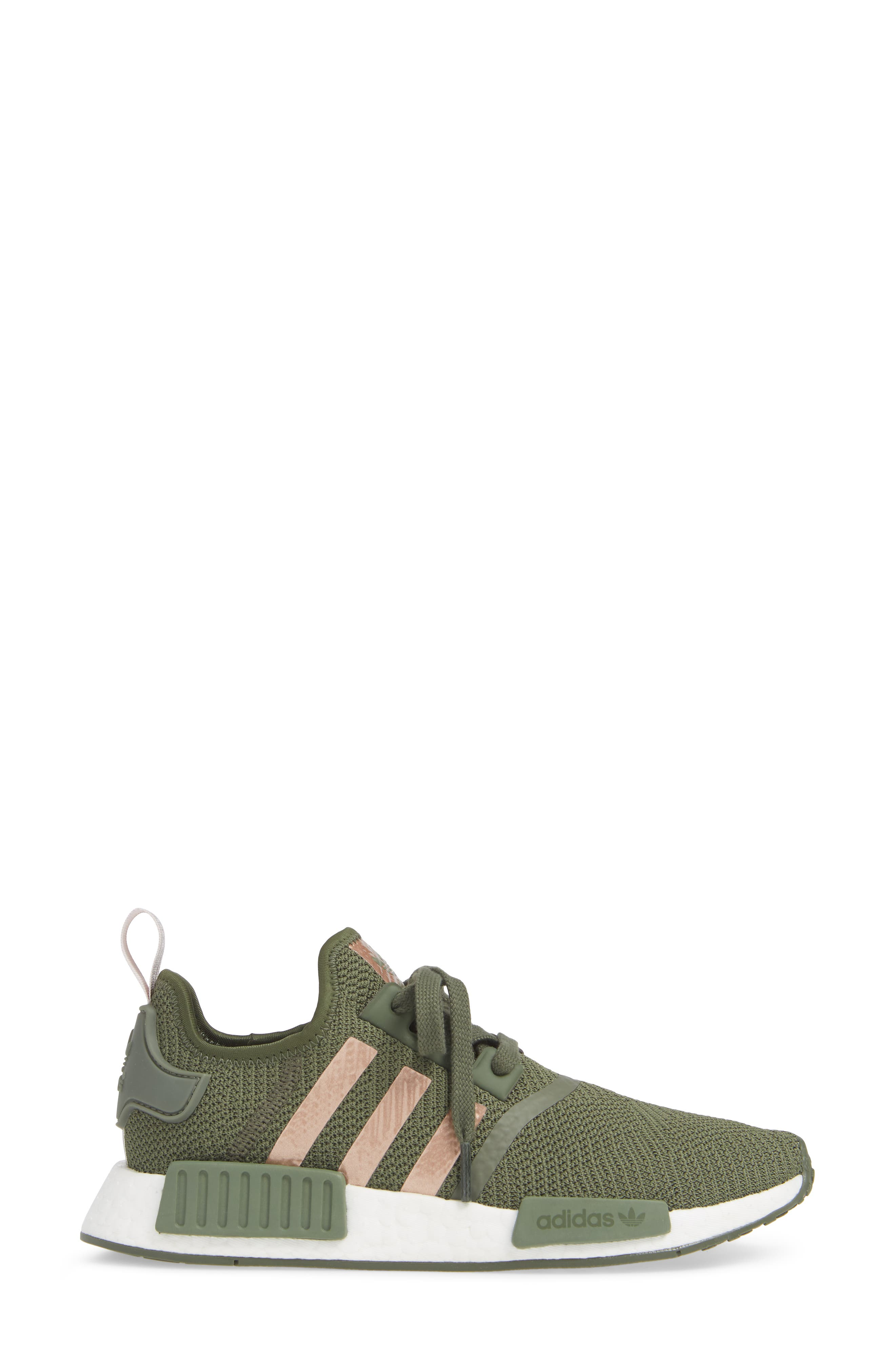NMD R1 Athletic Shoe,                             Alternate thumbnail 3, color,                             BASE GREEN/ SUPER POP