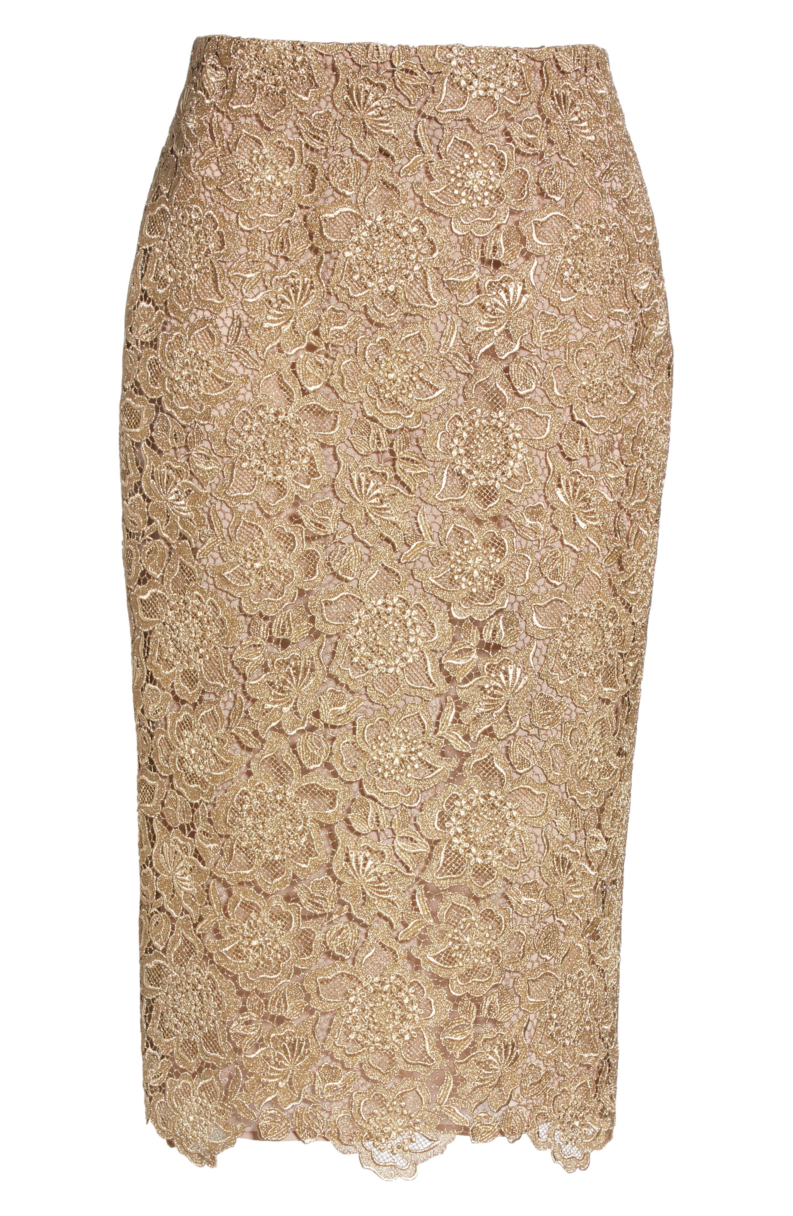 Anemone Guipure Lace Pencil Skirt,                             Alternate thumbnail 6, color,                             GOLD