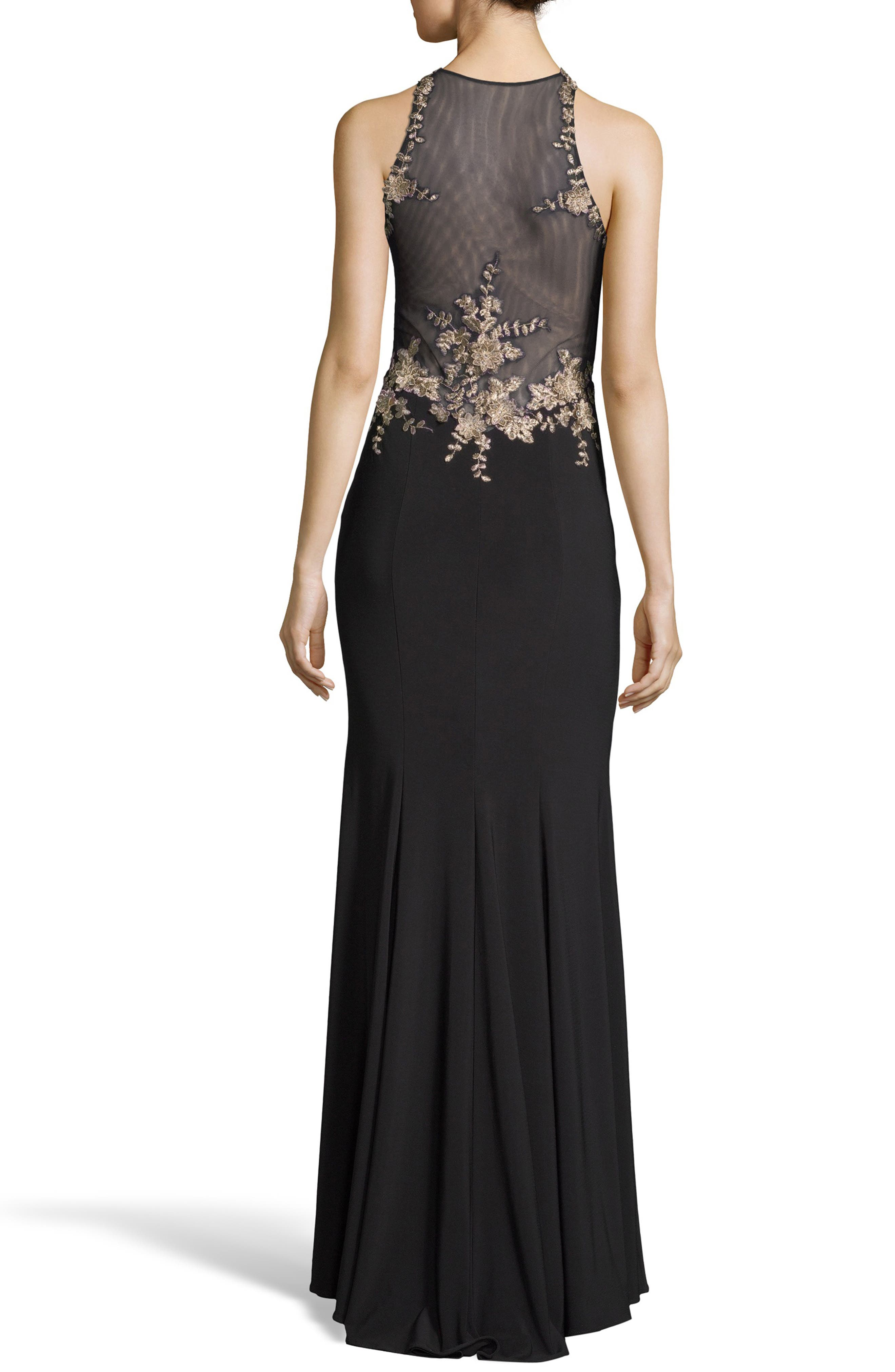 Floral Embroidered Gown,                             Alternate thumbnail 2, color,                             BLACK/ GOLD