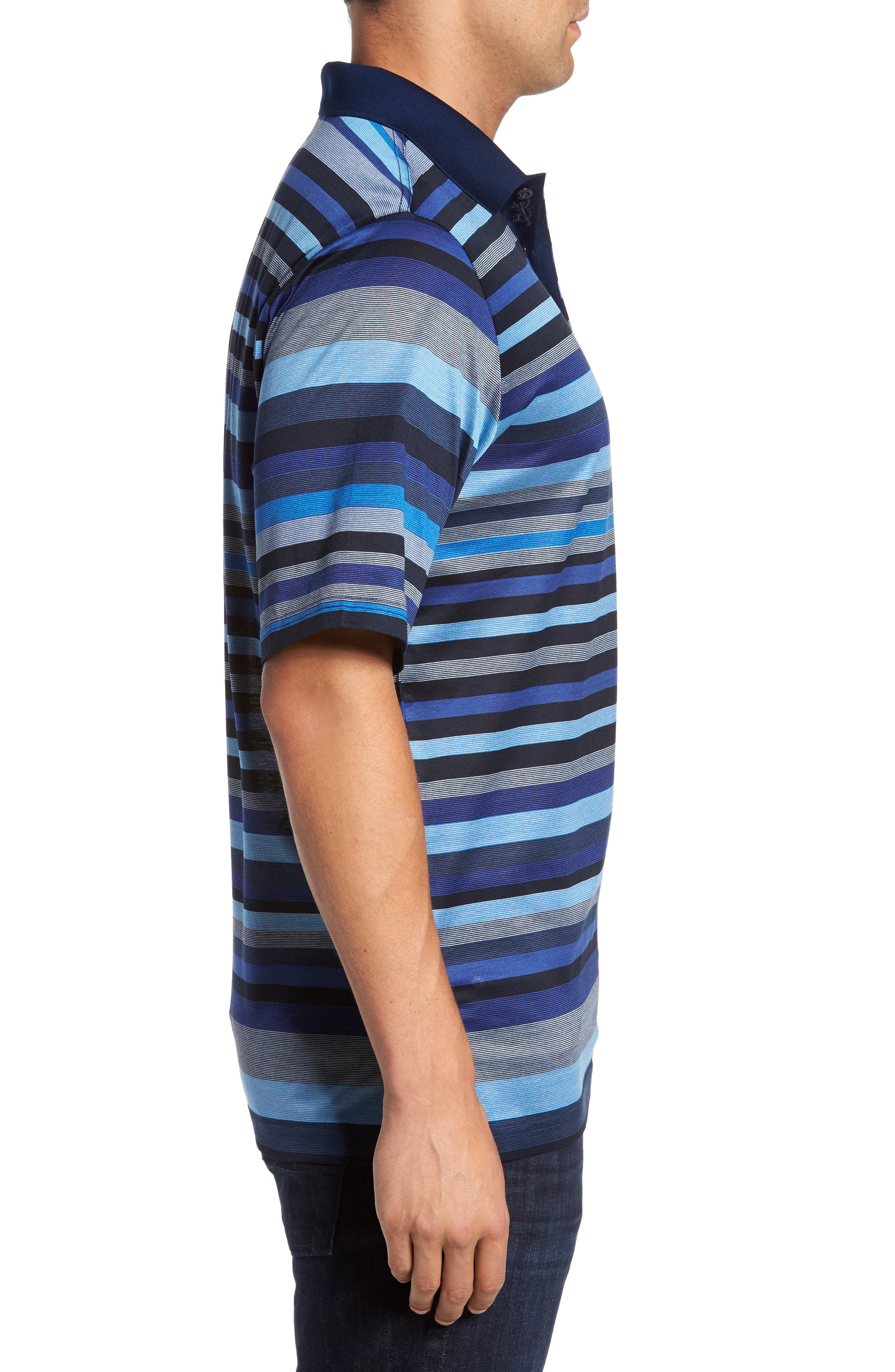Classic Fit Stripe Jersey Polo,                             Alternate thumbnail 3, color,                             411