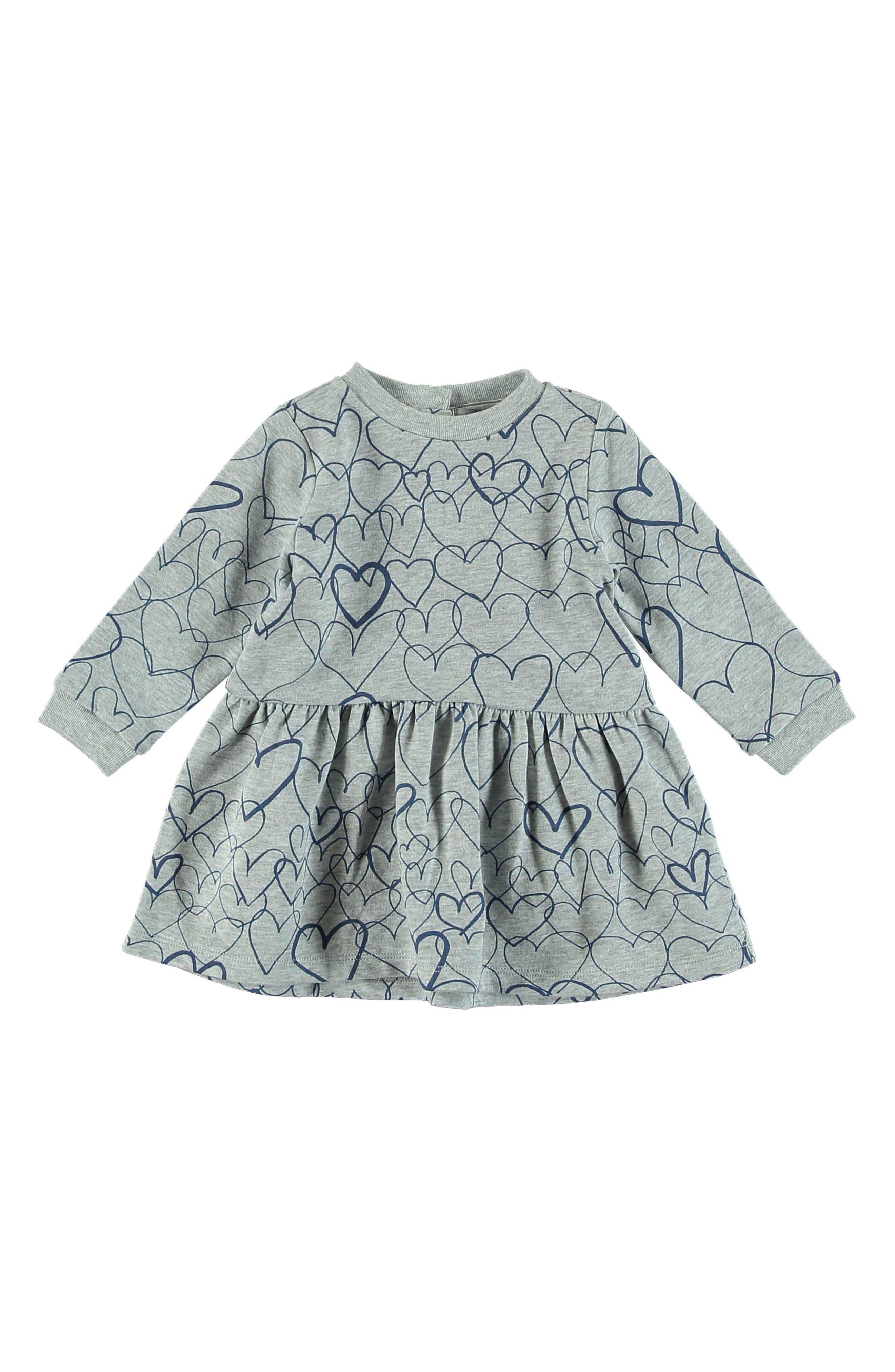 Bretta Heart Print Dress,                             Main thumbnail 1, color,                             GREY BLUE