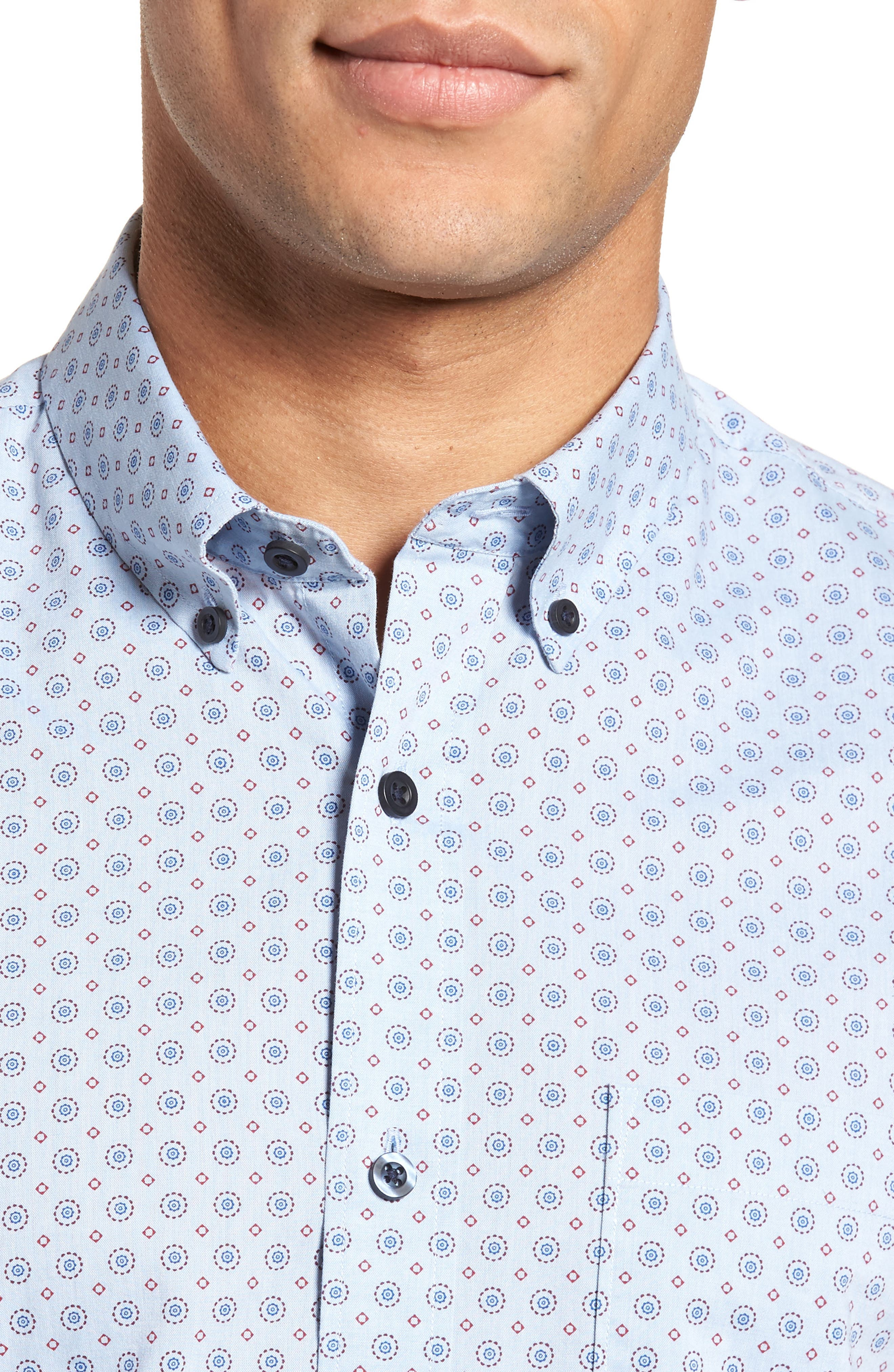 Trim Fit Print Sport Shirt,                             Alternate thumbnail 4, color,                             420