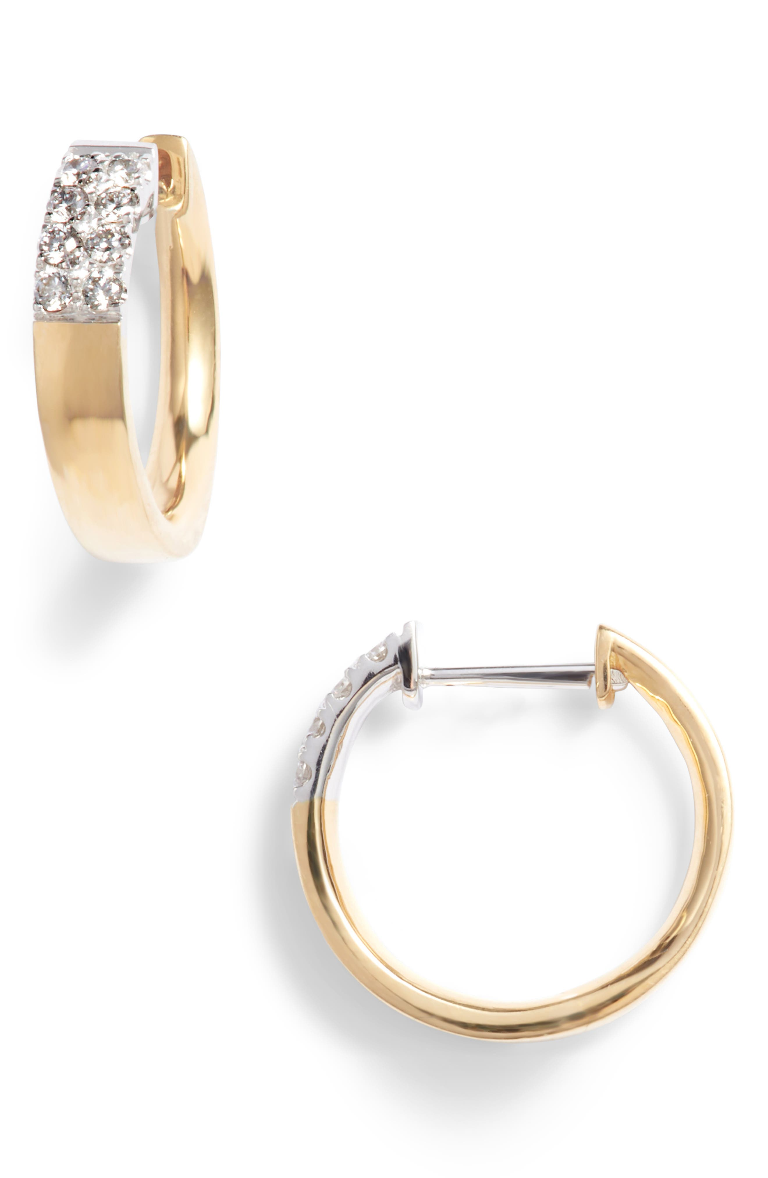 Kiera Small Diamond Hoop Earrings,                         Main,                         color, YELLOW GOLD/ WHITE GOLD