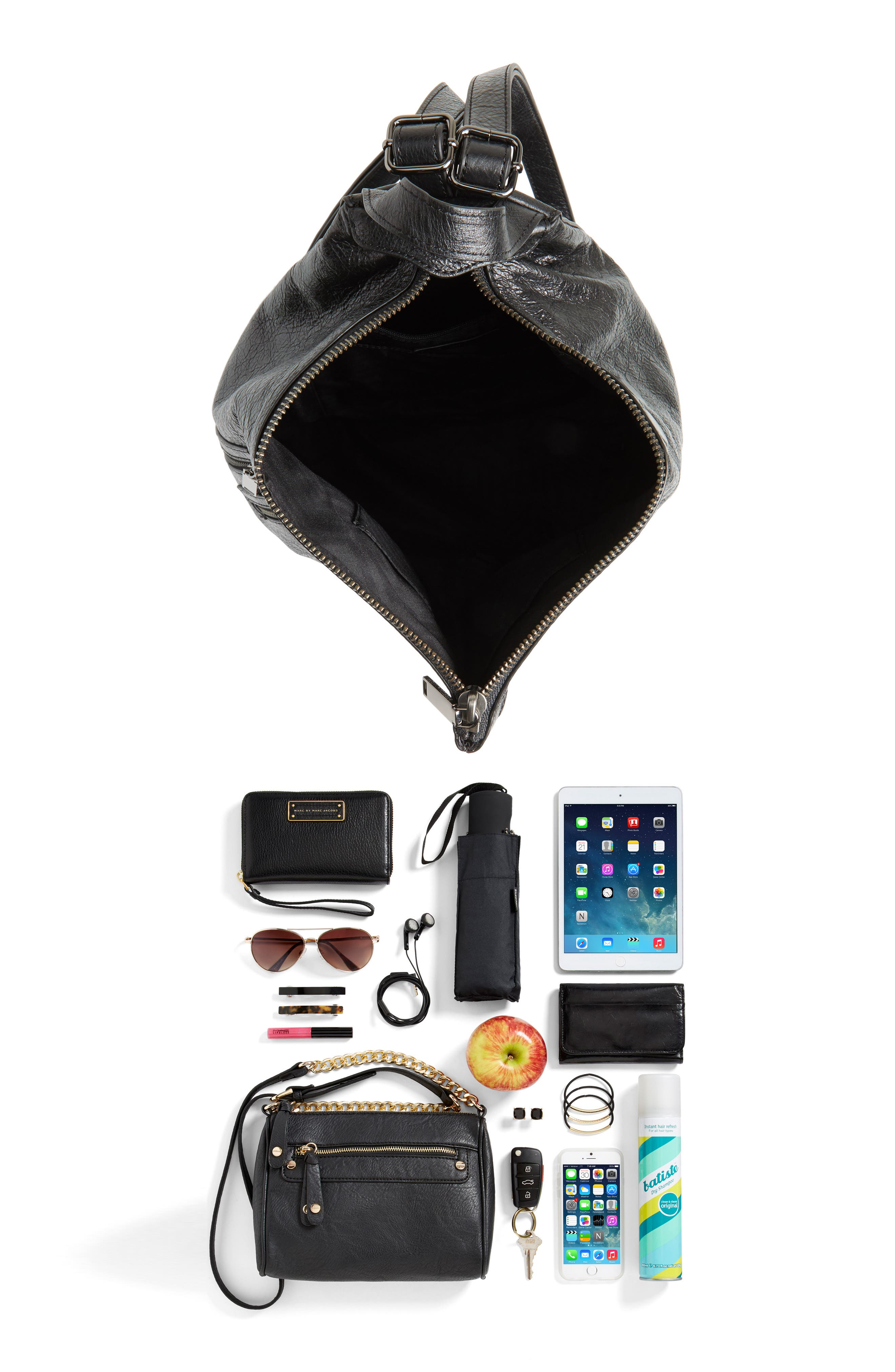 Jamie Nubuck Leather Backpack,                             Alternate thumbnail 7, color,                             001