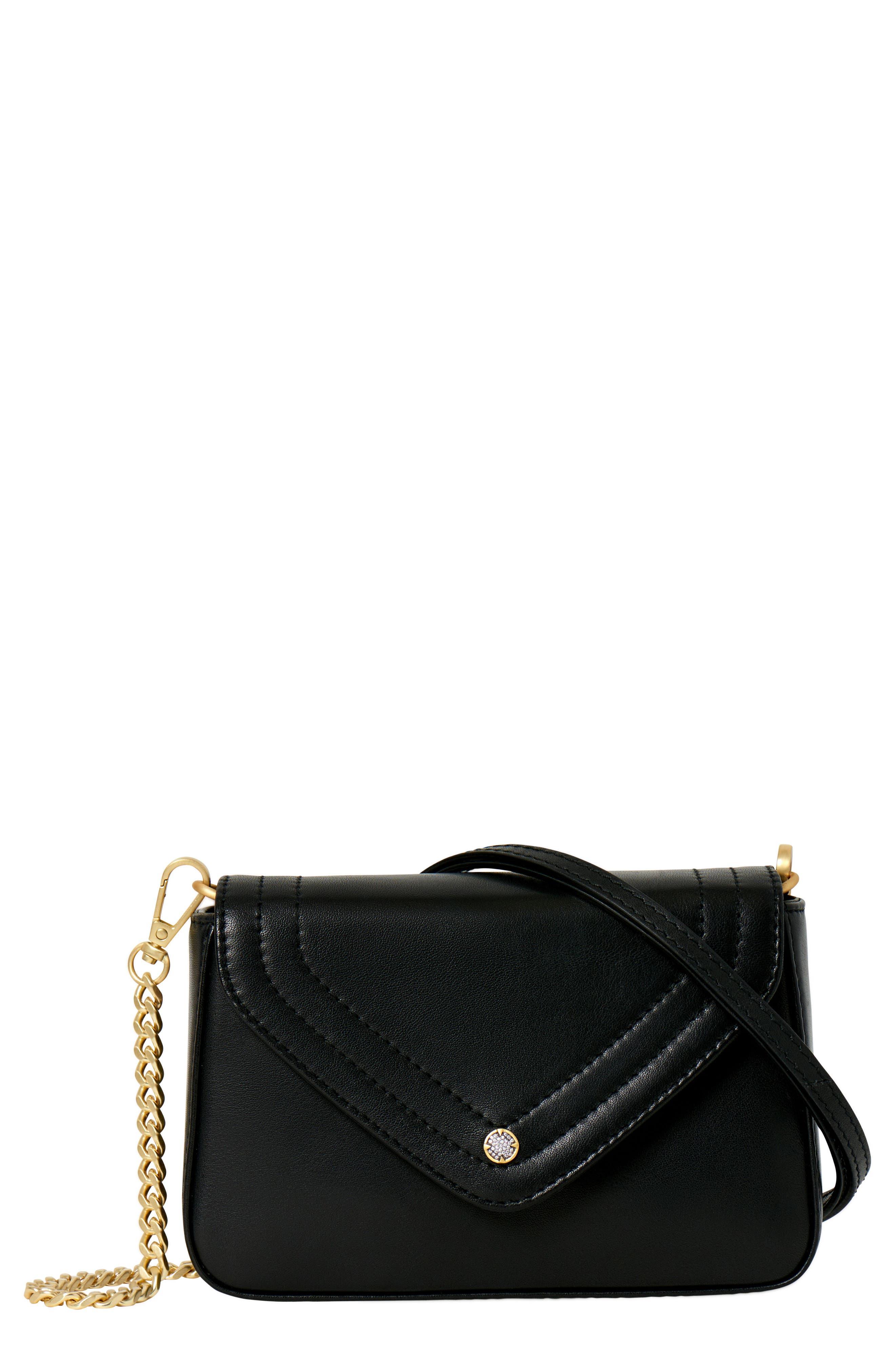 Maiden Leather Crossbody Bag,                         Main,                         color, BLACK