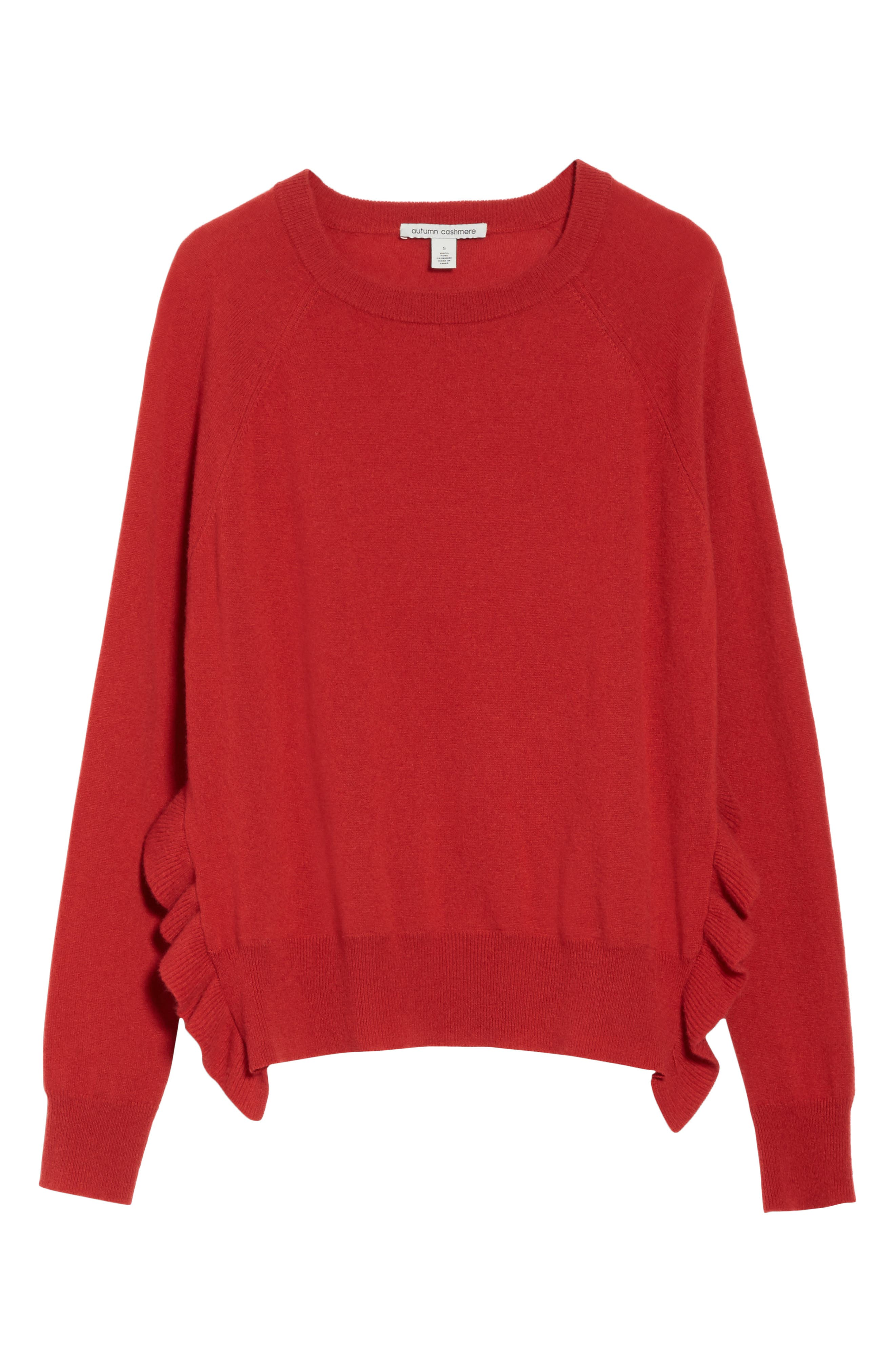 Cashmere Side Ruffle Sweater,                             Alternate thumbnail 6, color,                             404