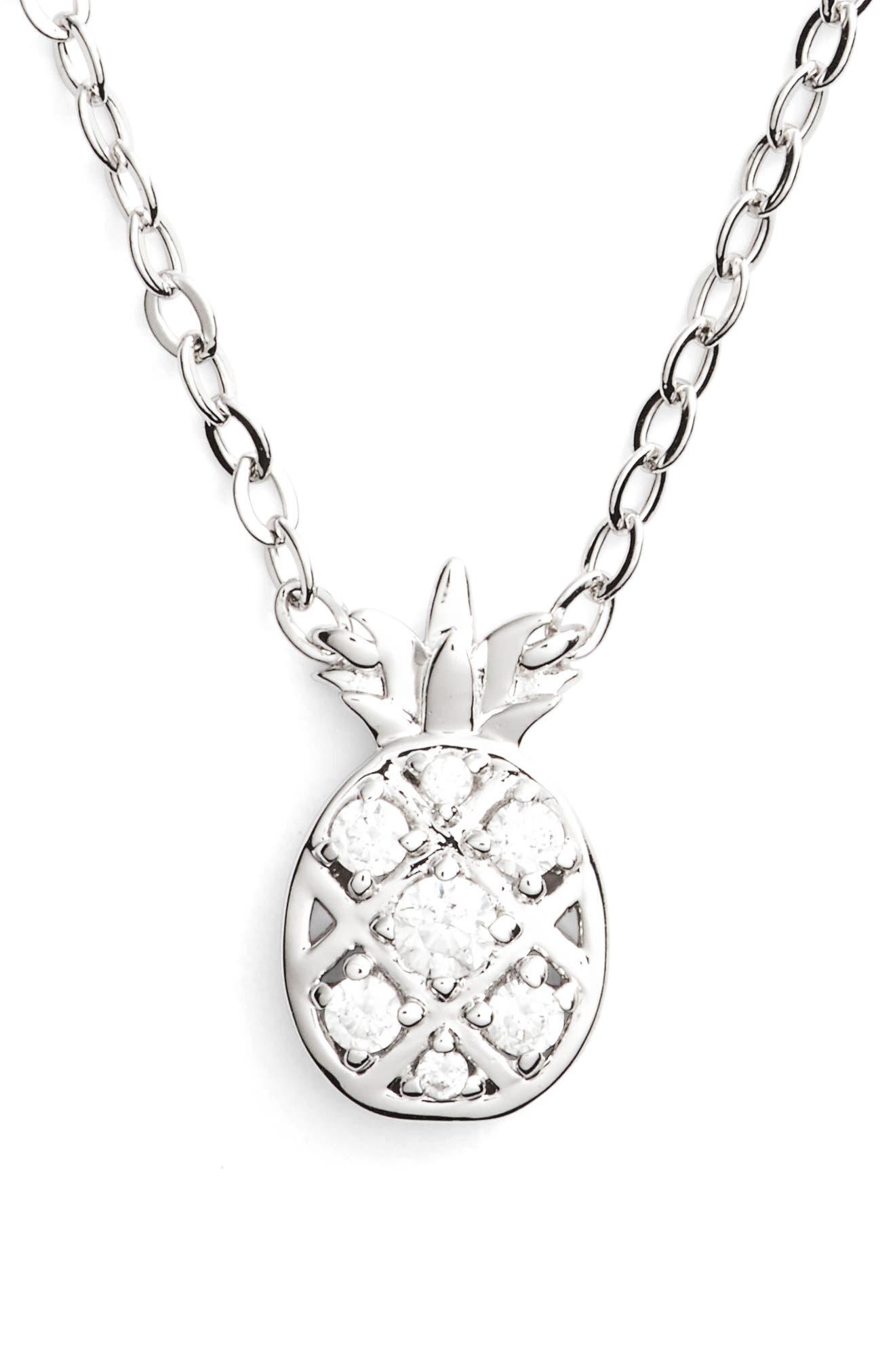 Reminisce Cubic Zirconia Pineapple Pendant Necklace,                             Main thumbnail 1, color,                             040