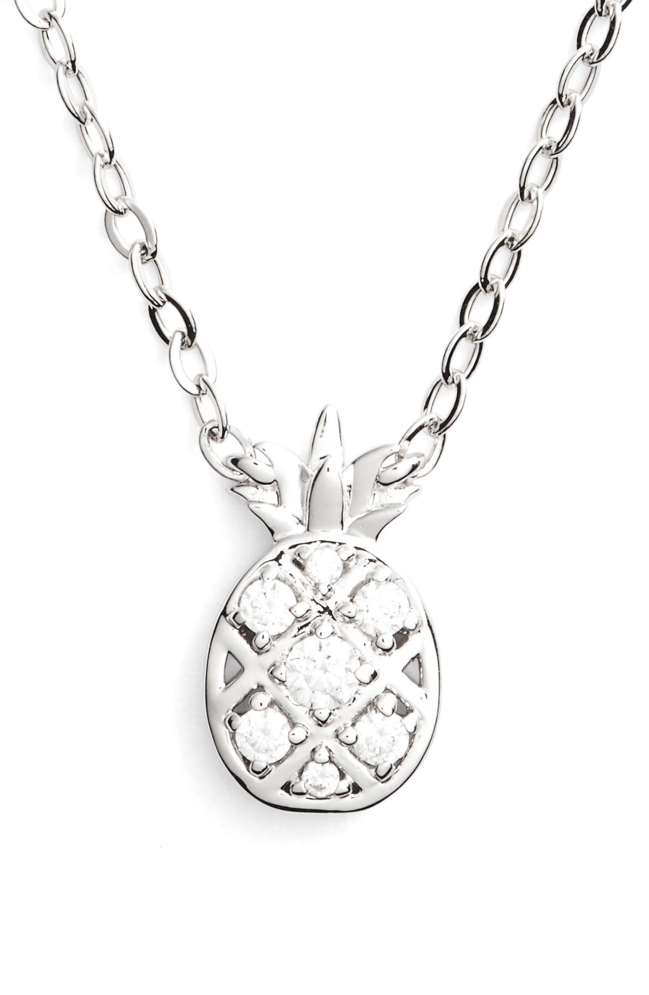 Reminisce Cubic Zirconia Pineapple Pendant Necklace,                         Main,                         color, 040