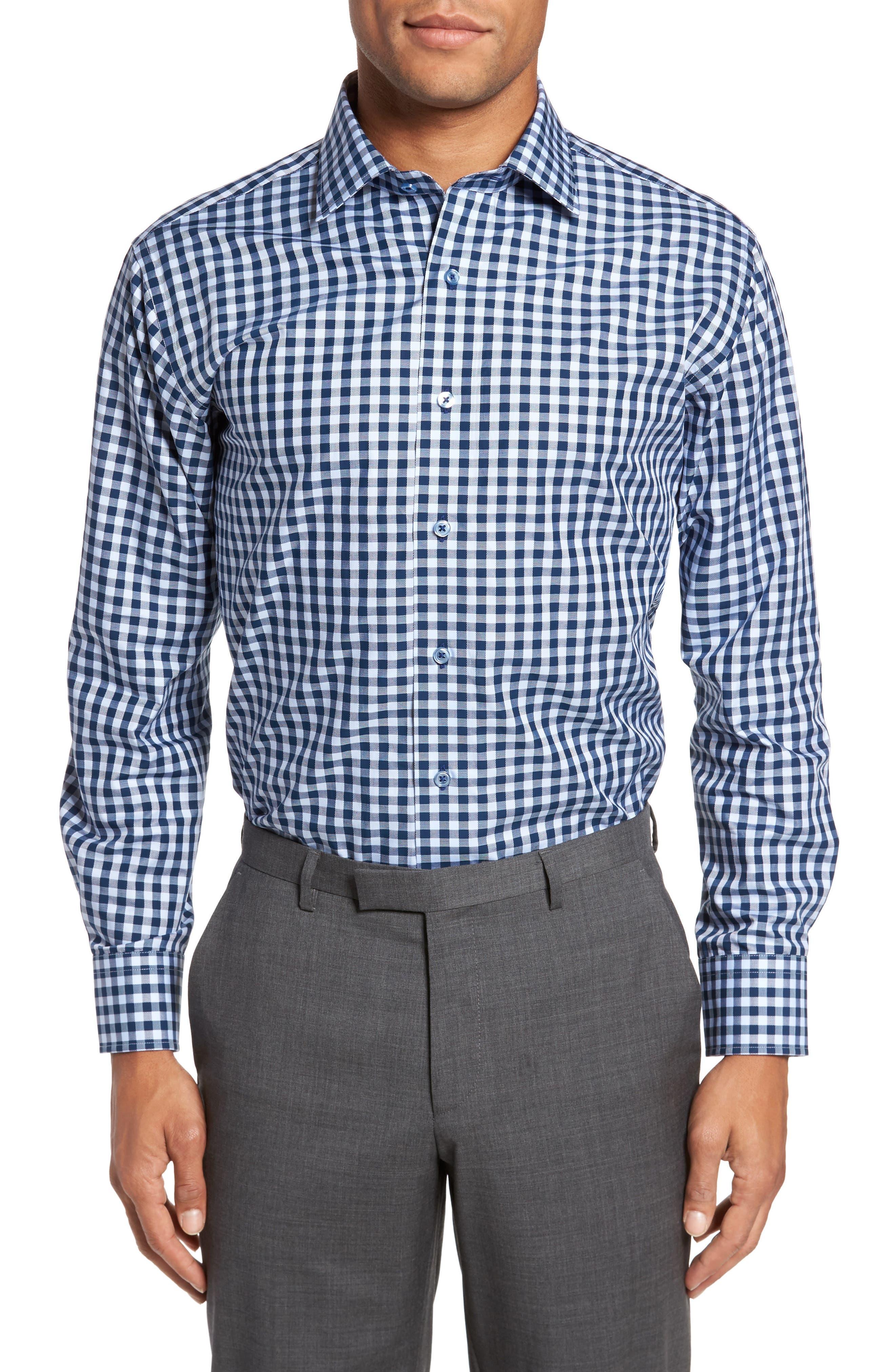 Trim Fit Check Dress Shirt,                         Main,                         color, NAVY