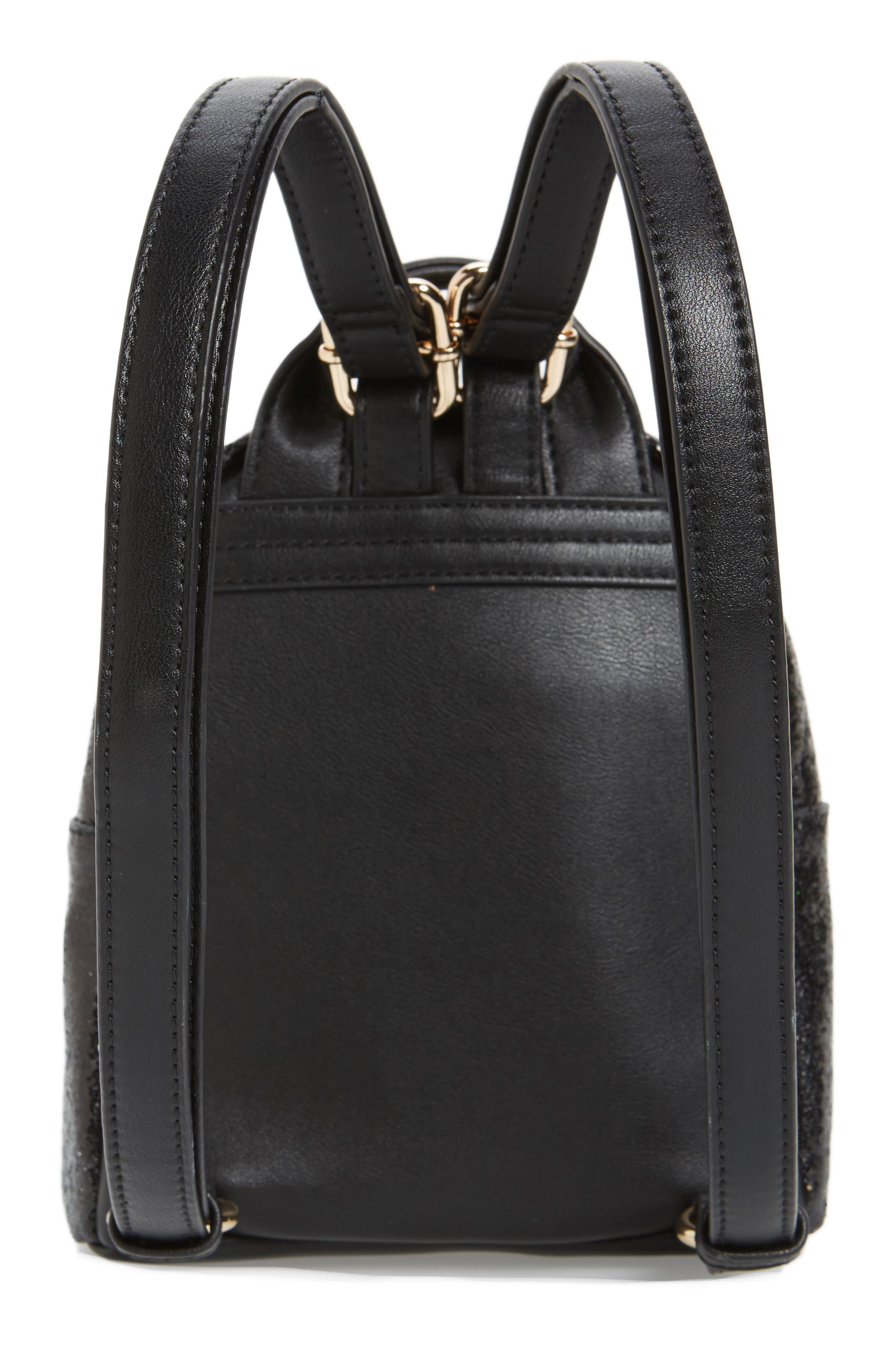 Mali + Lili Glitter Vegan Leather Backpack,                             Alternate thumbnail 3, color,                             BLACK