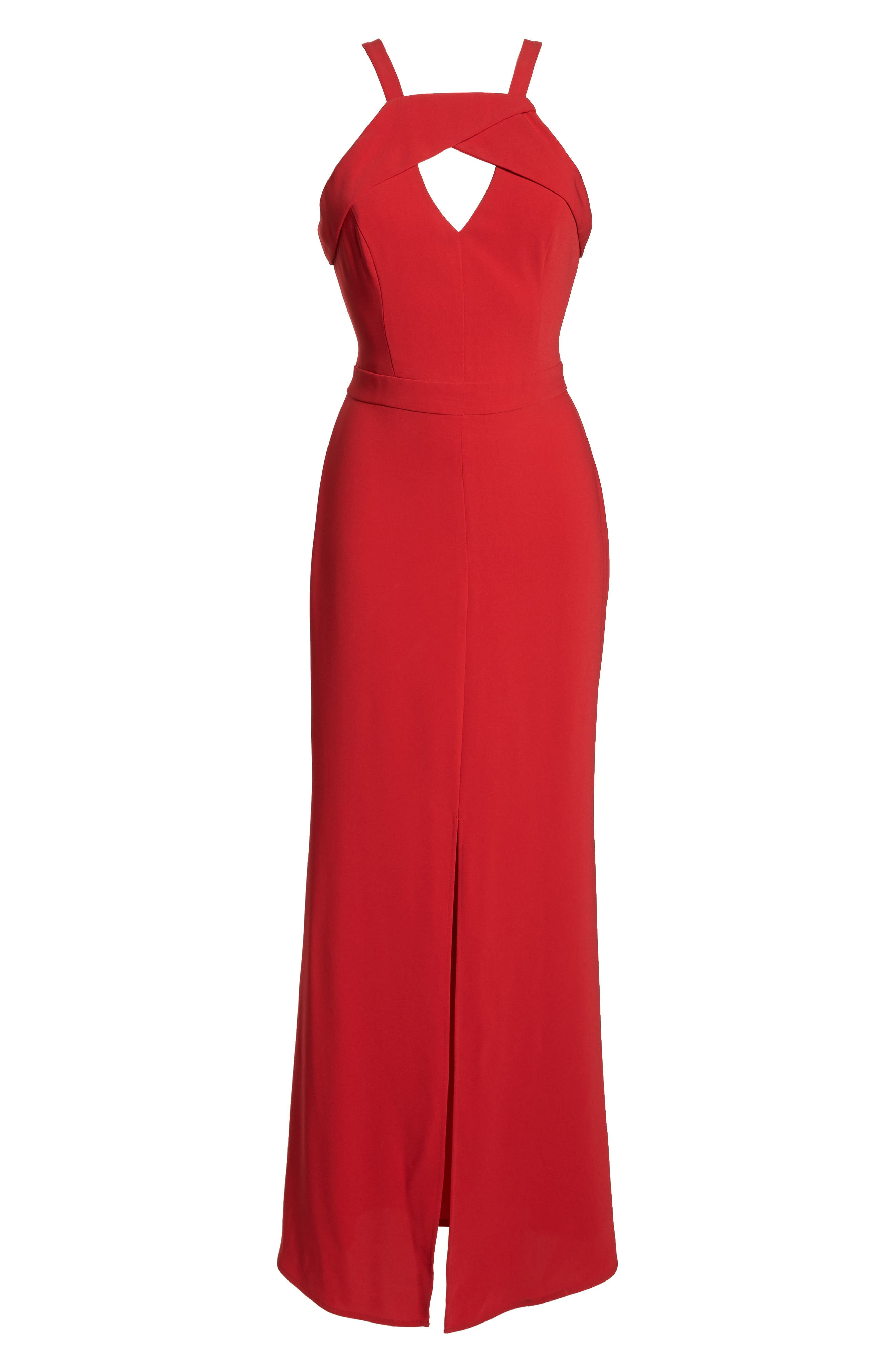 HARLYN,                             Keyhole Bodice Gown,                             Alternate thumbnail 7, color,                             RED