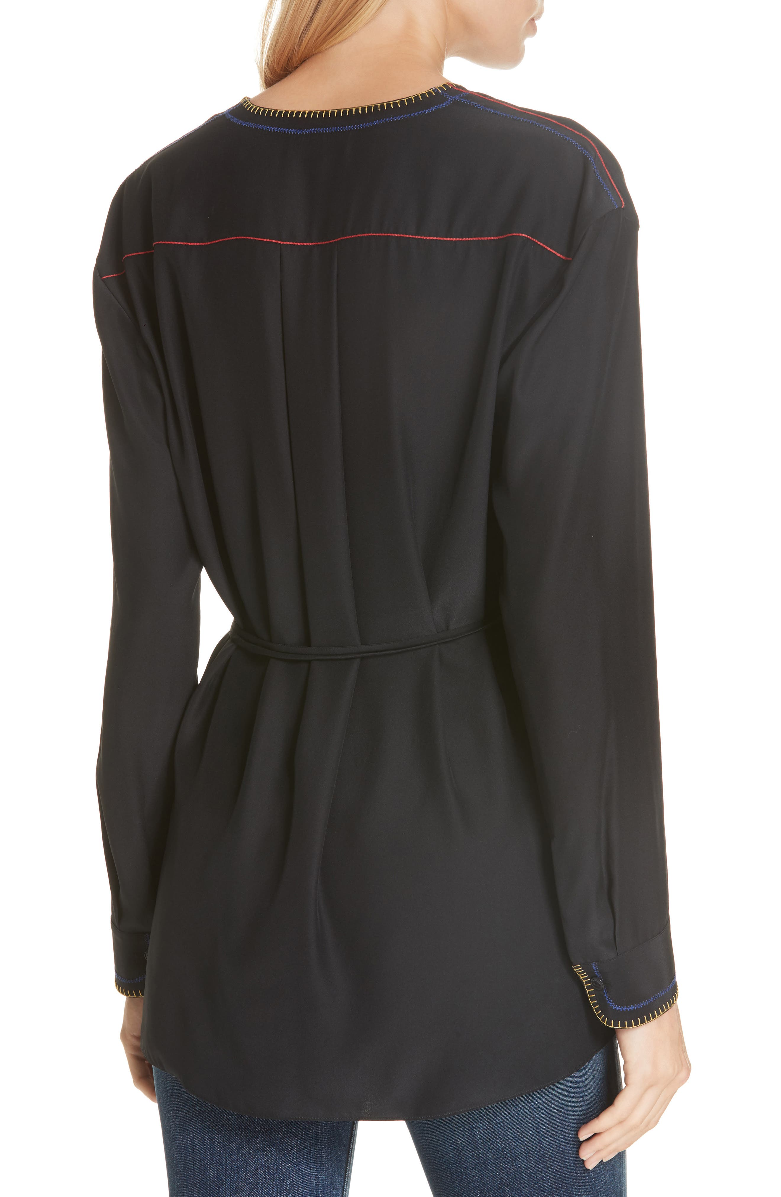 Lina Embroidered Silk Wrap Blouse,                             Alternate thumbnail 2, color,                             BLACK