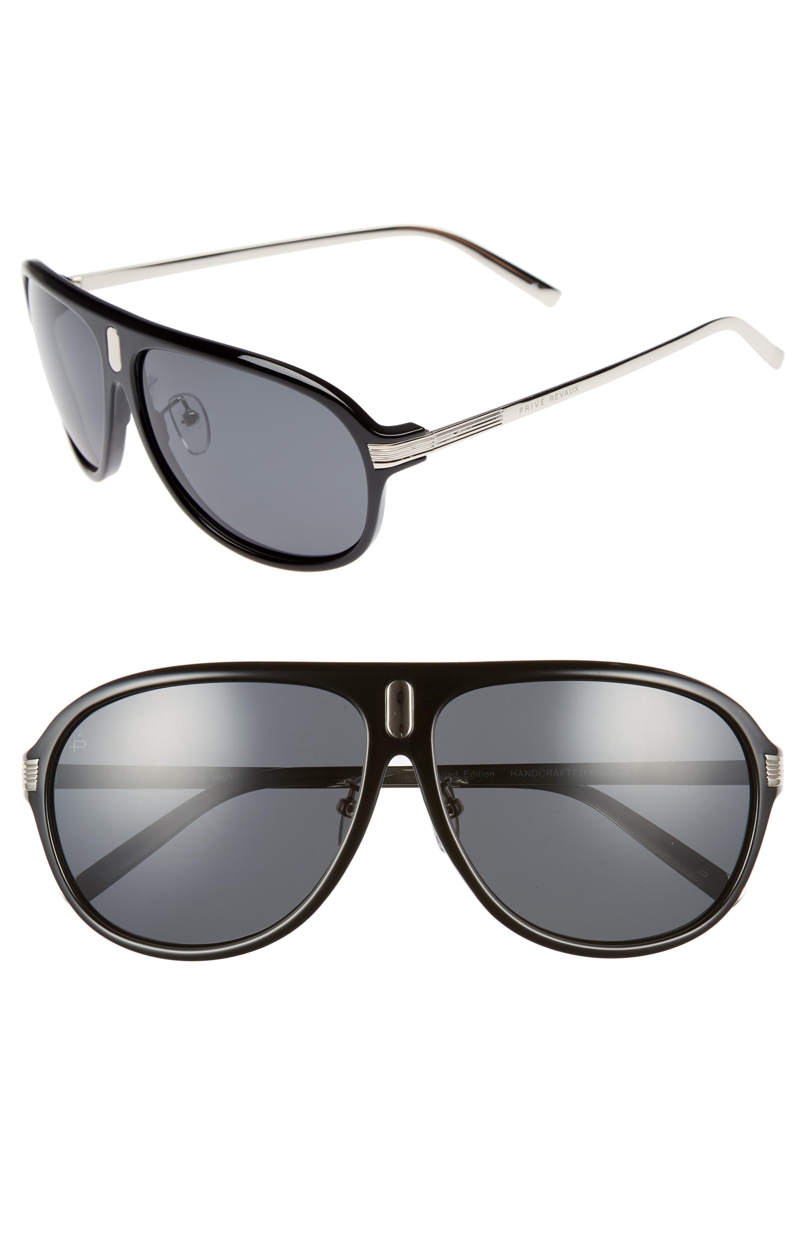 Privé Revaux The McQueen 62mm Polarized Aviator Sunglasses,                             Main thumbnail 1, color,                             001