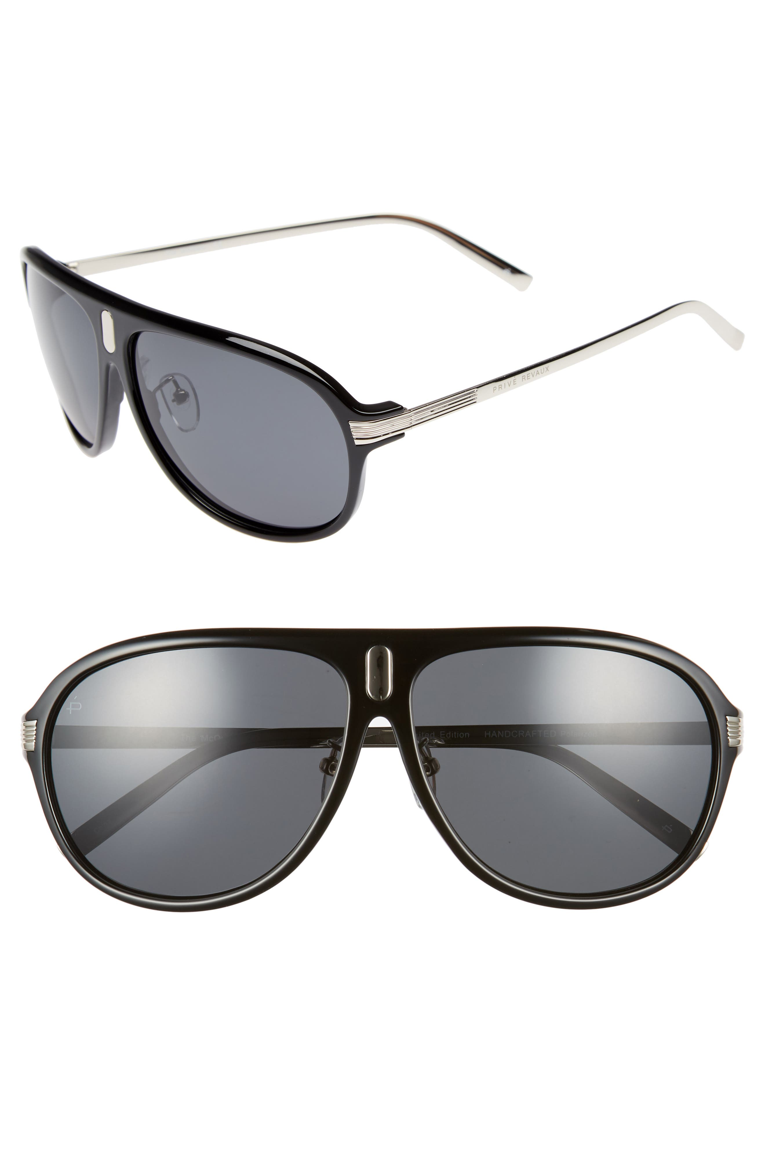 Privé Revaux The McQueen 62mm Polarized Aviator Sunglasses,                         Main,                         color, 001