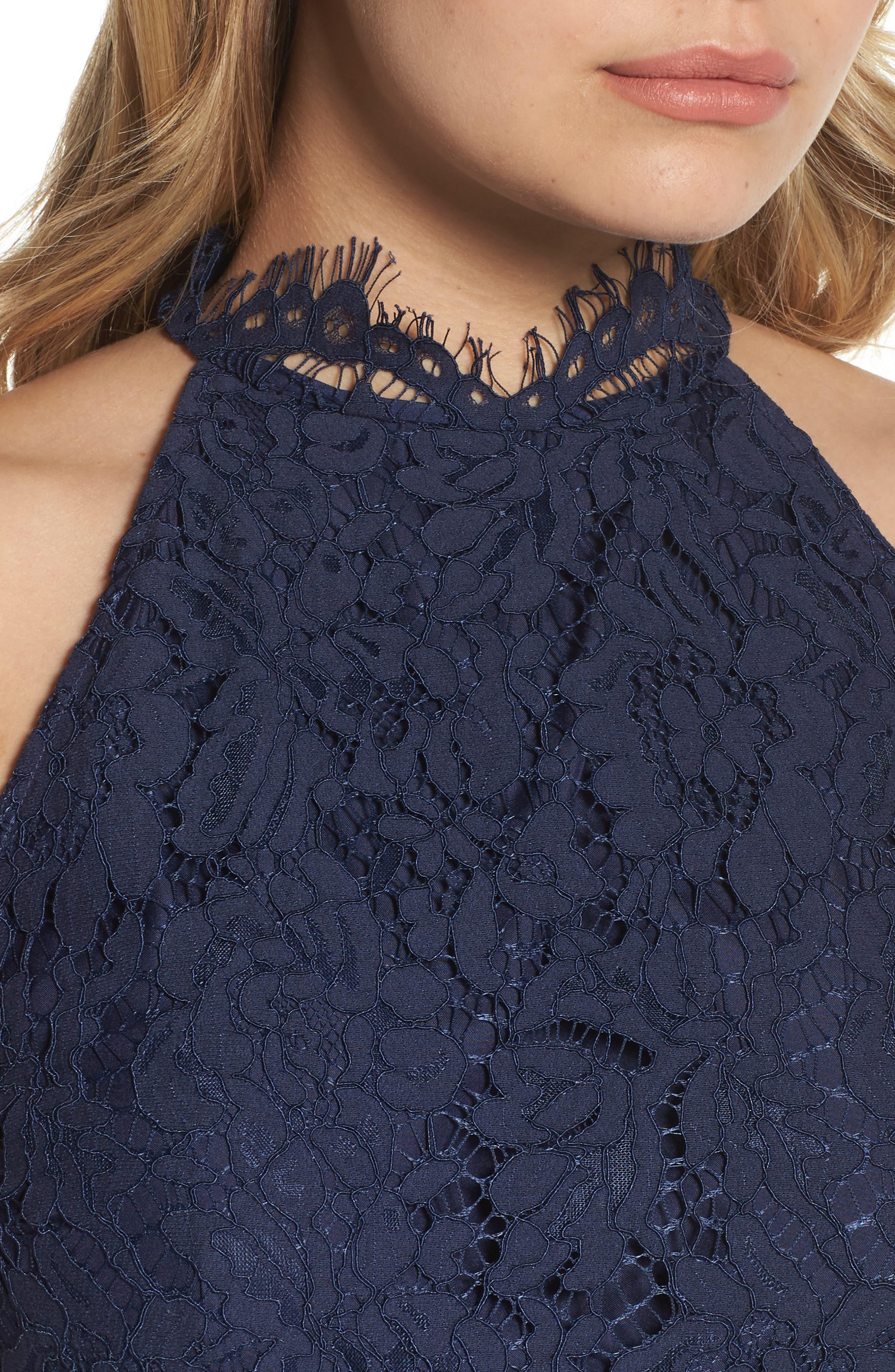 'Cara' High Neck Lace Dress,                             Alternate thumbnail 4, color,                             NAVY