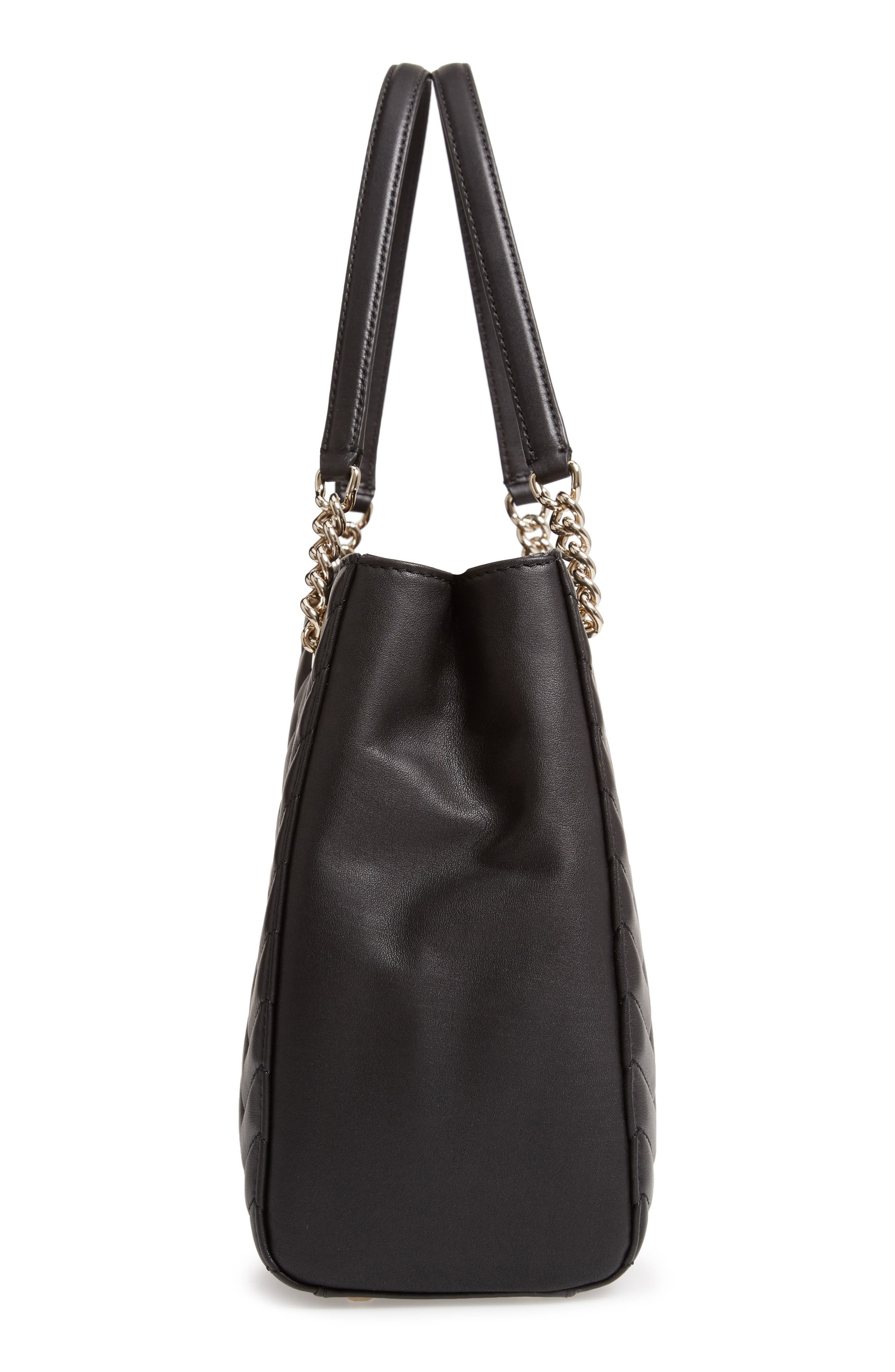reese park courtnee leather tote,                             Alternate thumbnail 5, color,                             BLACK