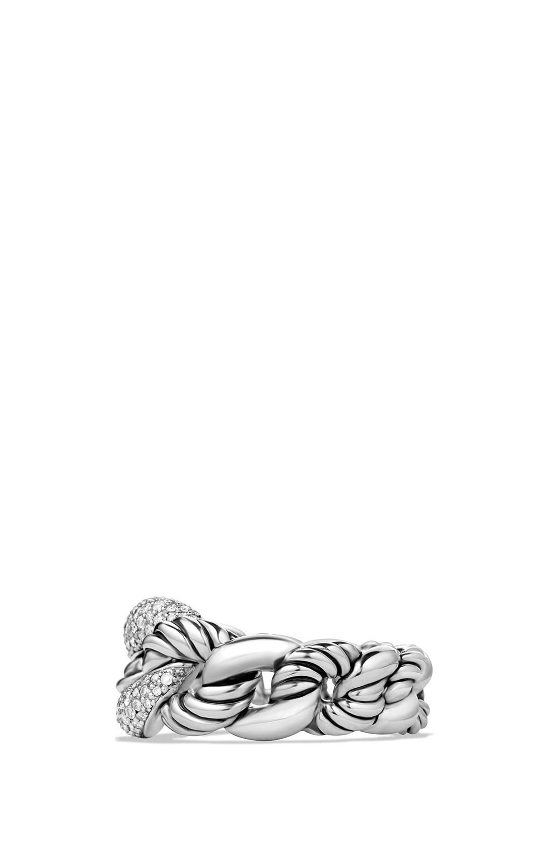 'Belmont' Curb Link Ring with Diamonds,                             Alternate thumbnail 3, color,                             DIAMOND