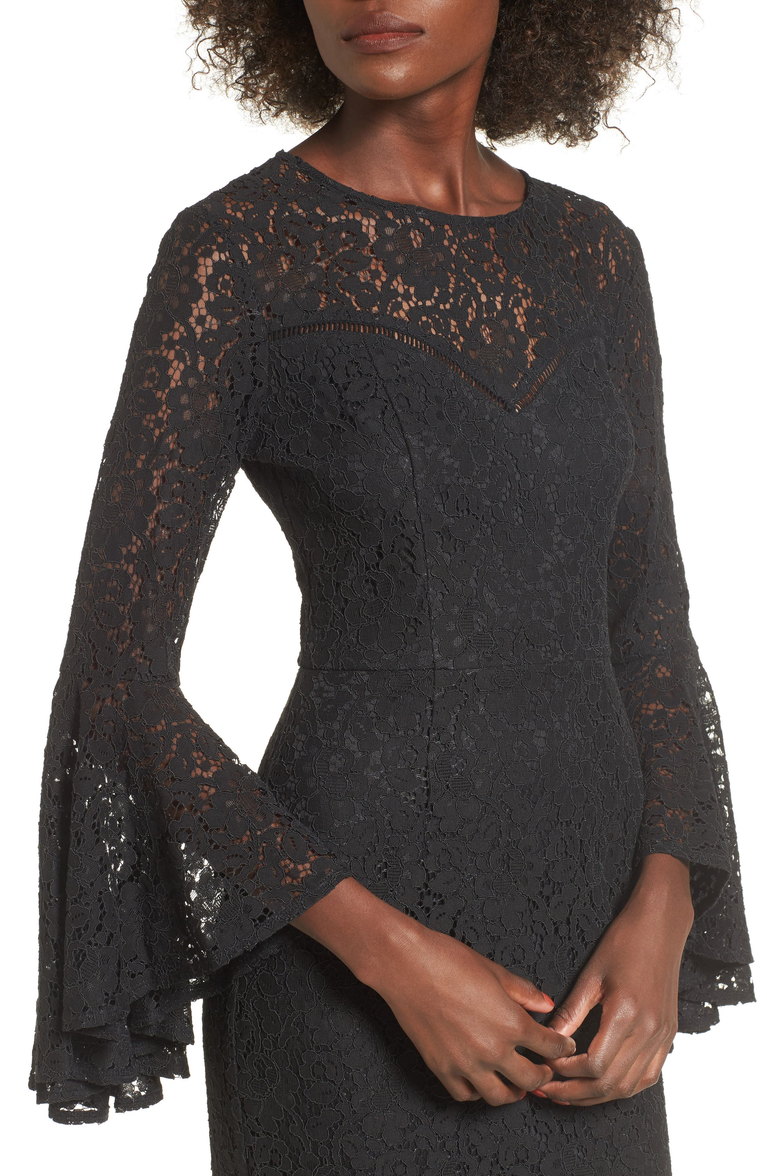 Lace Bell Sleeve Dress,                             Alternate thumbnail 4, color,