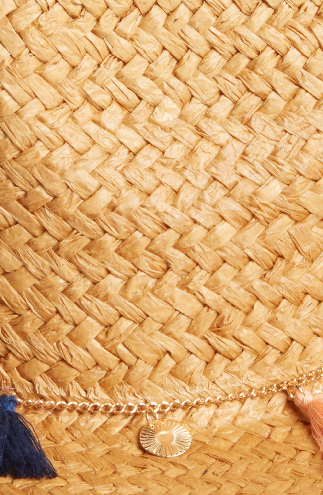 Tassel and Coins Straw Fedora,                             Alternate thumbnail 2, color,