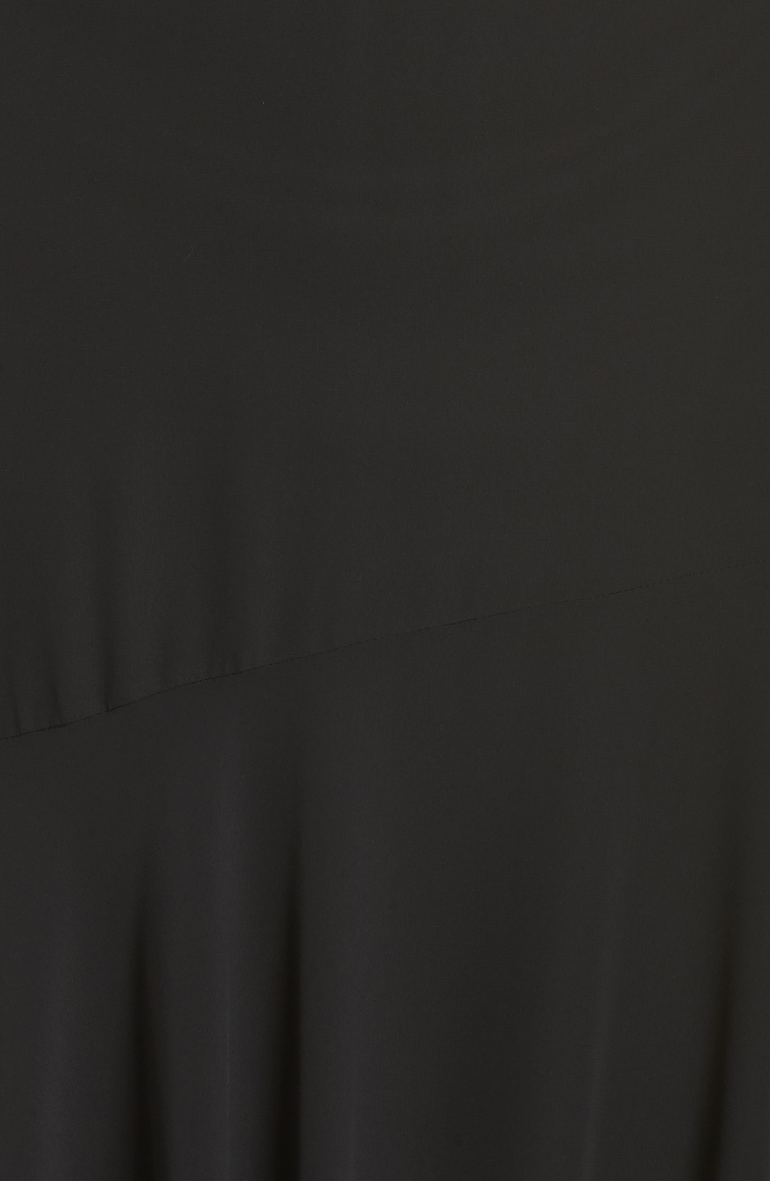 Pleated Chiffon Midi Skirt,                             Alternate thumbnail 5, color,                             BLACK