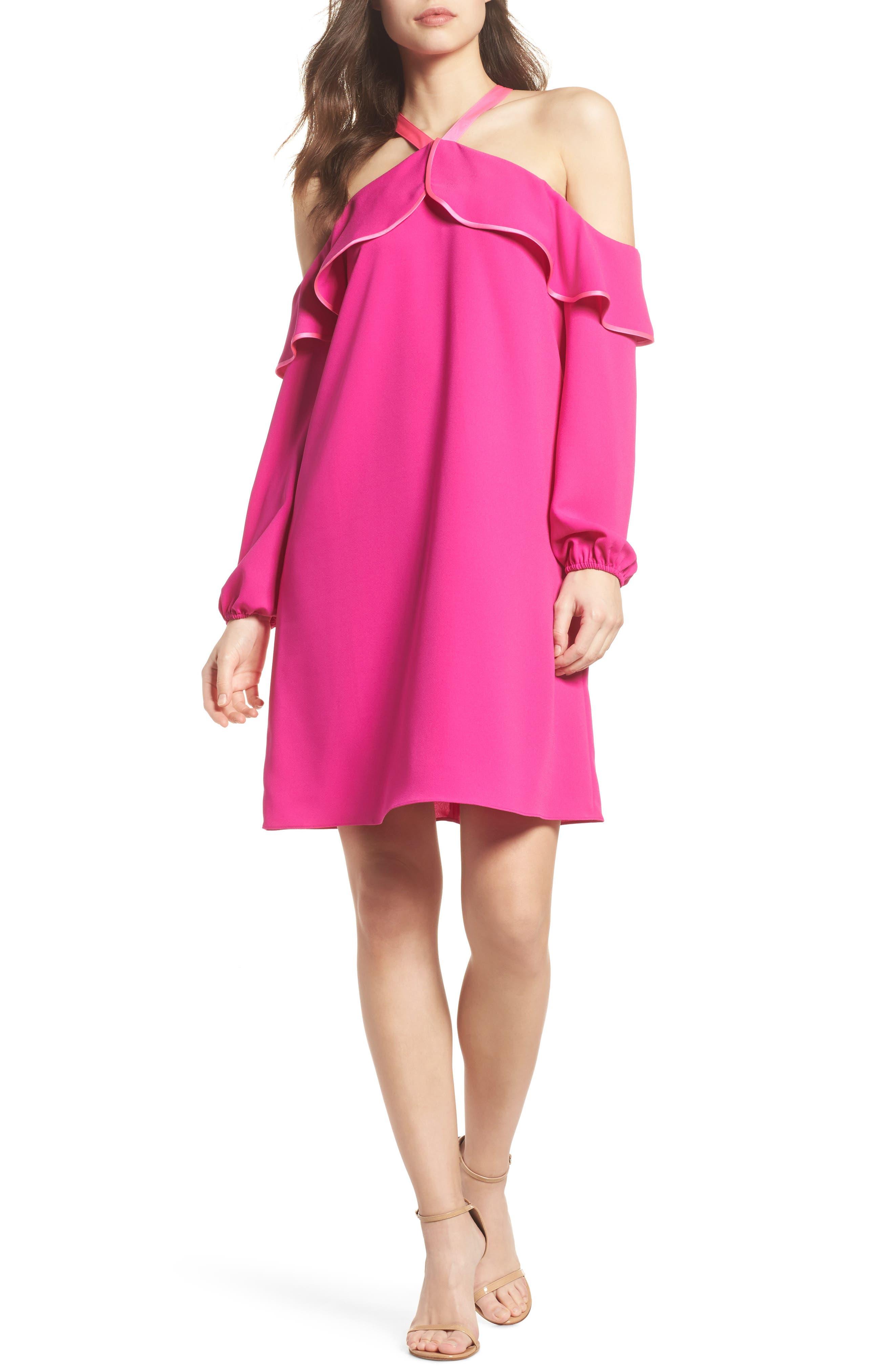Abrielle Ruffle A-Line Dress,                             Alternate thumbnail 5, color,                             BERRY SANGRIA