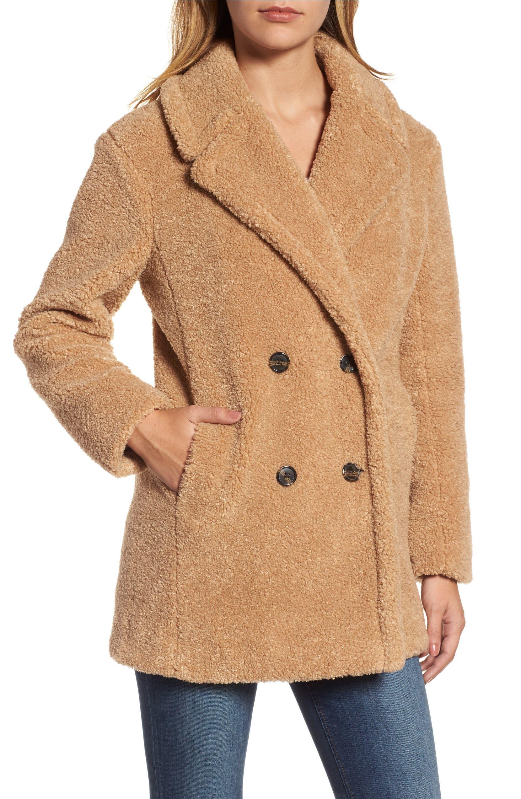 5dcb7181854 kensie Teddy Bear Notch Collar Faux Fur Coat