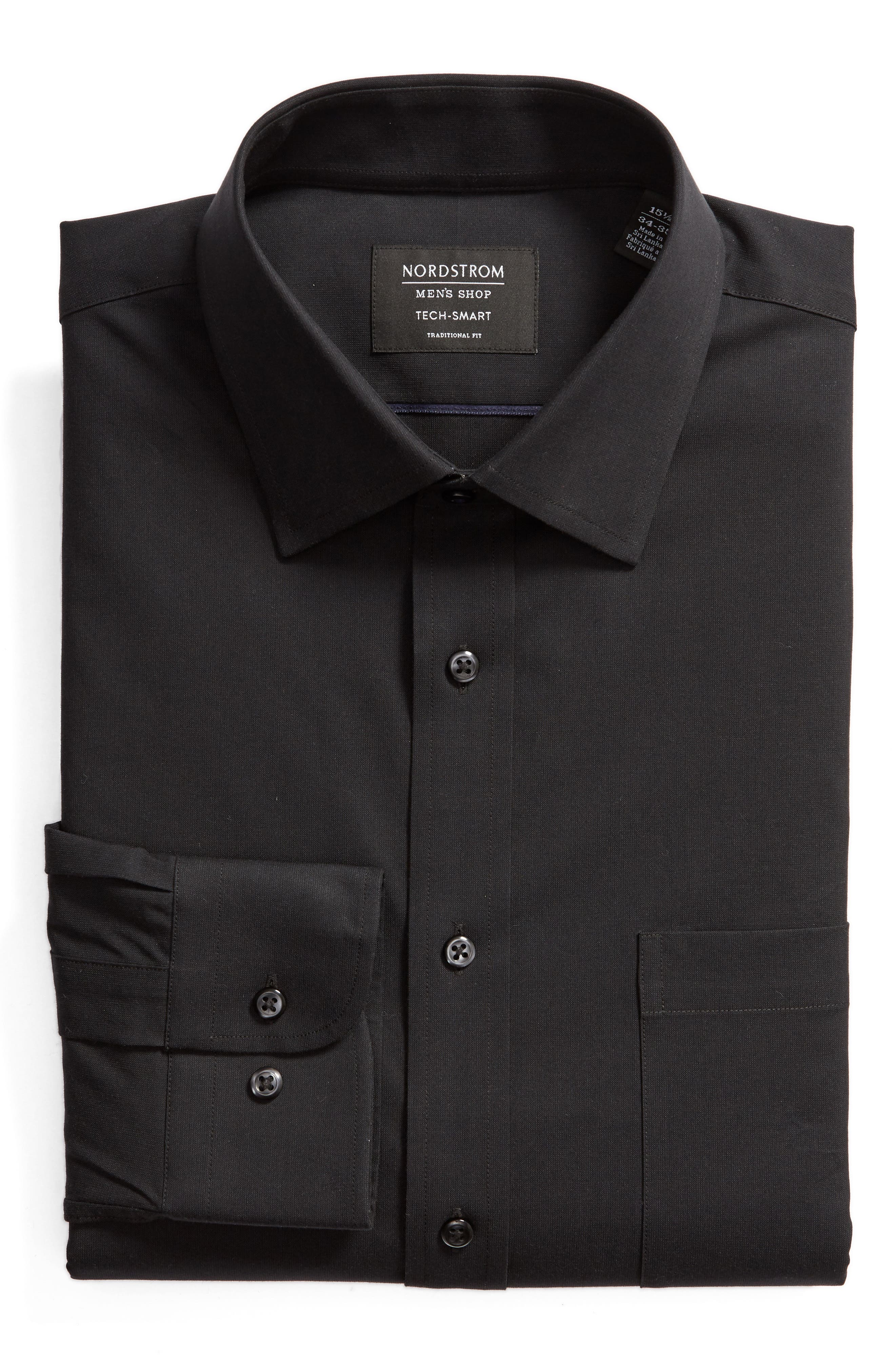Tech-Smart Traditional Fit Stretch Pinpoint Dress Shirt,                         Main,                         color, BLACK ROCK