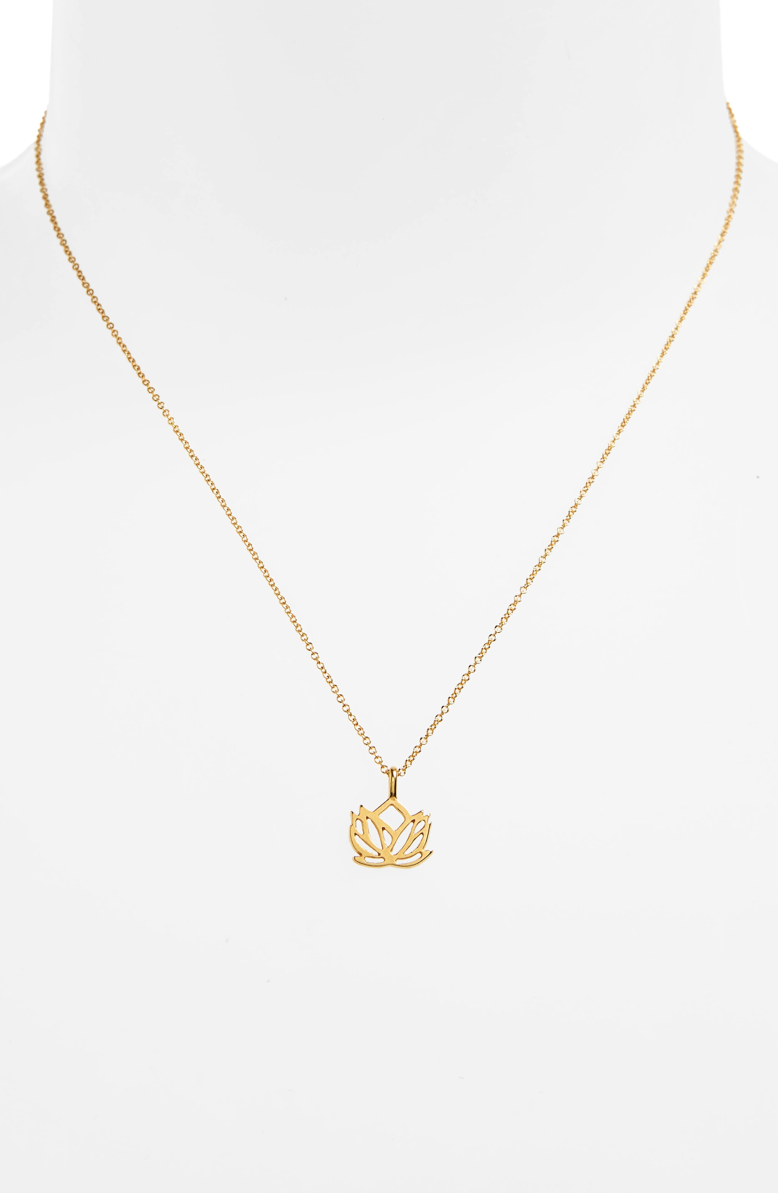 Lotus Reminder Pendant Necklace,                             Alternate thumbnail 3, color,                             GOLD