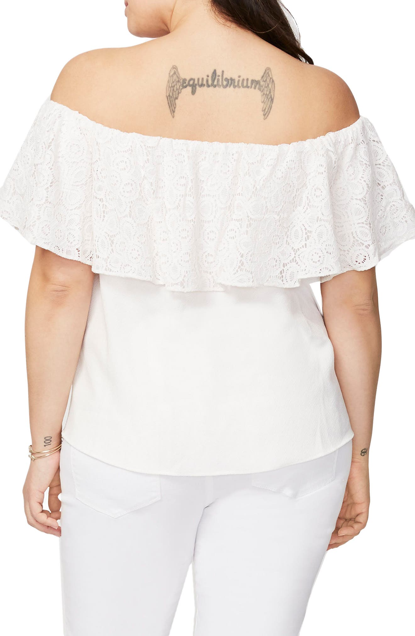 RACHEL Rachel Roy Lace Ruffle Off the Shoulder Top,                             Alternate thumbnail 4, color,