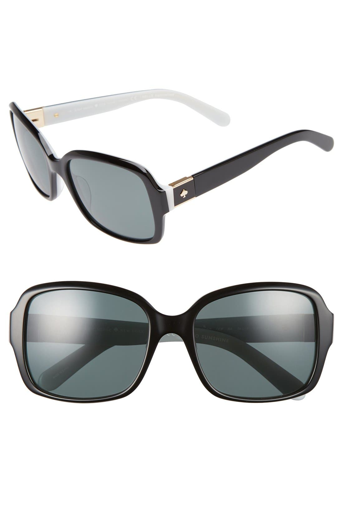 annor 54mm polarized sunglasses,                             Main thumbnail 1, color,                             BLACK/ WHITE