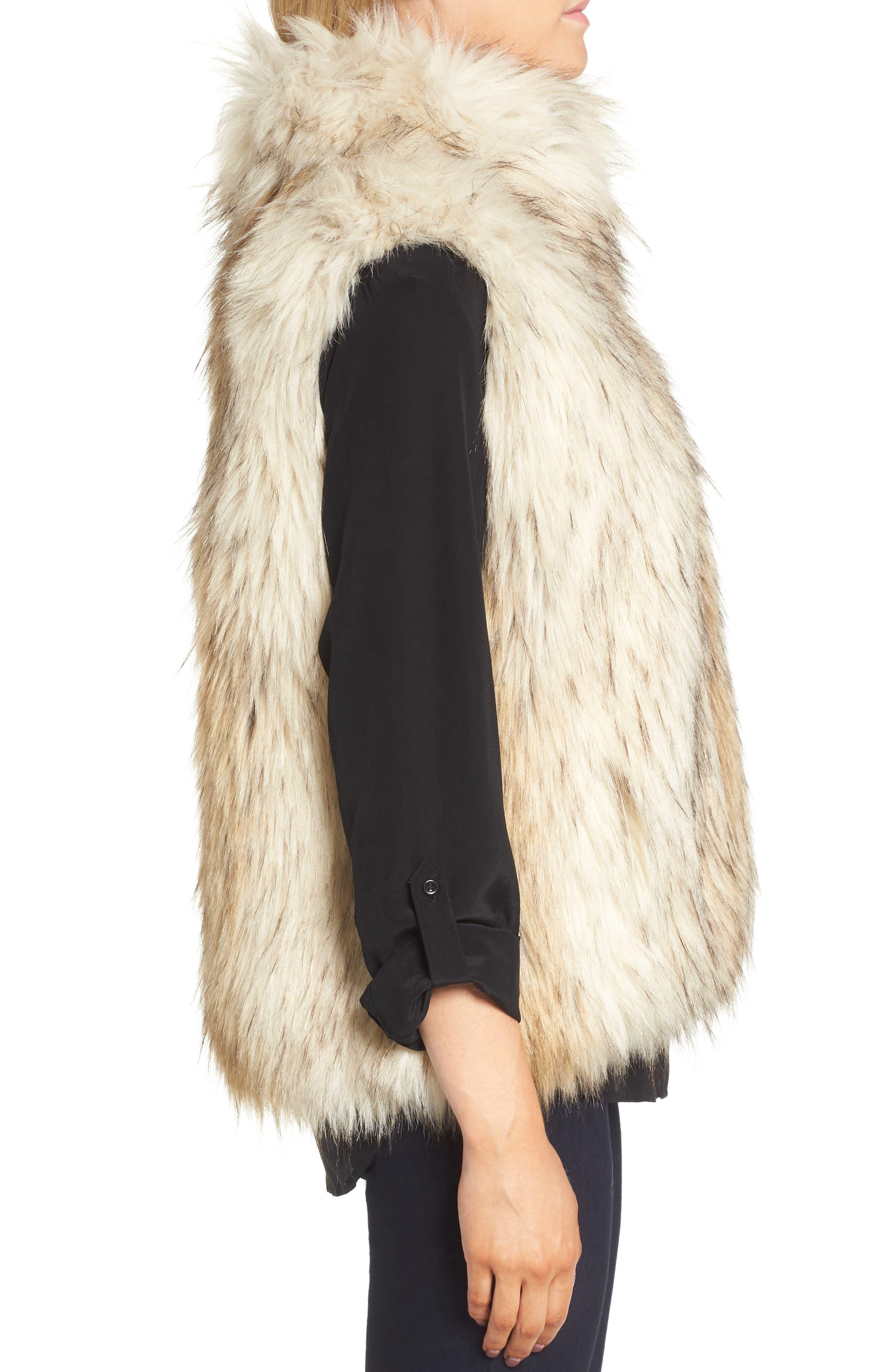 Elvan Open Front Faux Fur Vest,                             Alternate thumbnail 3, color,                             152