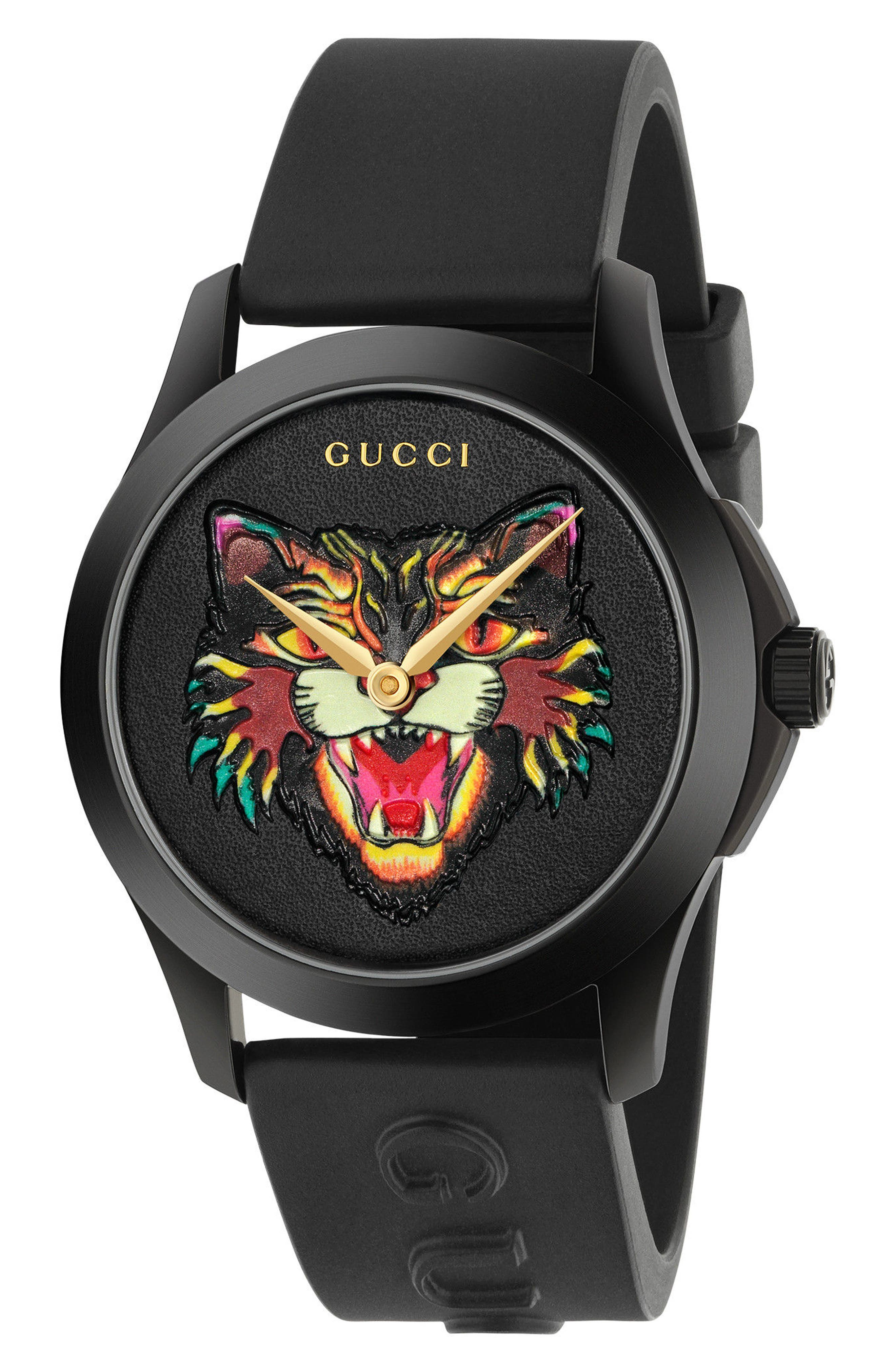 Angry Cat Rubber Strap Watch, 38mm, Main, color, BLACK