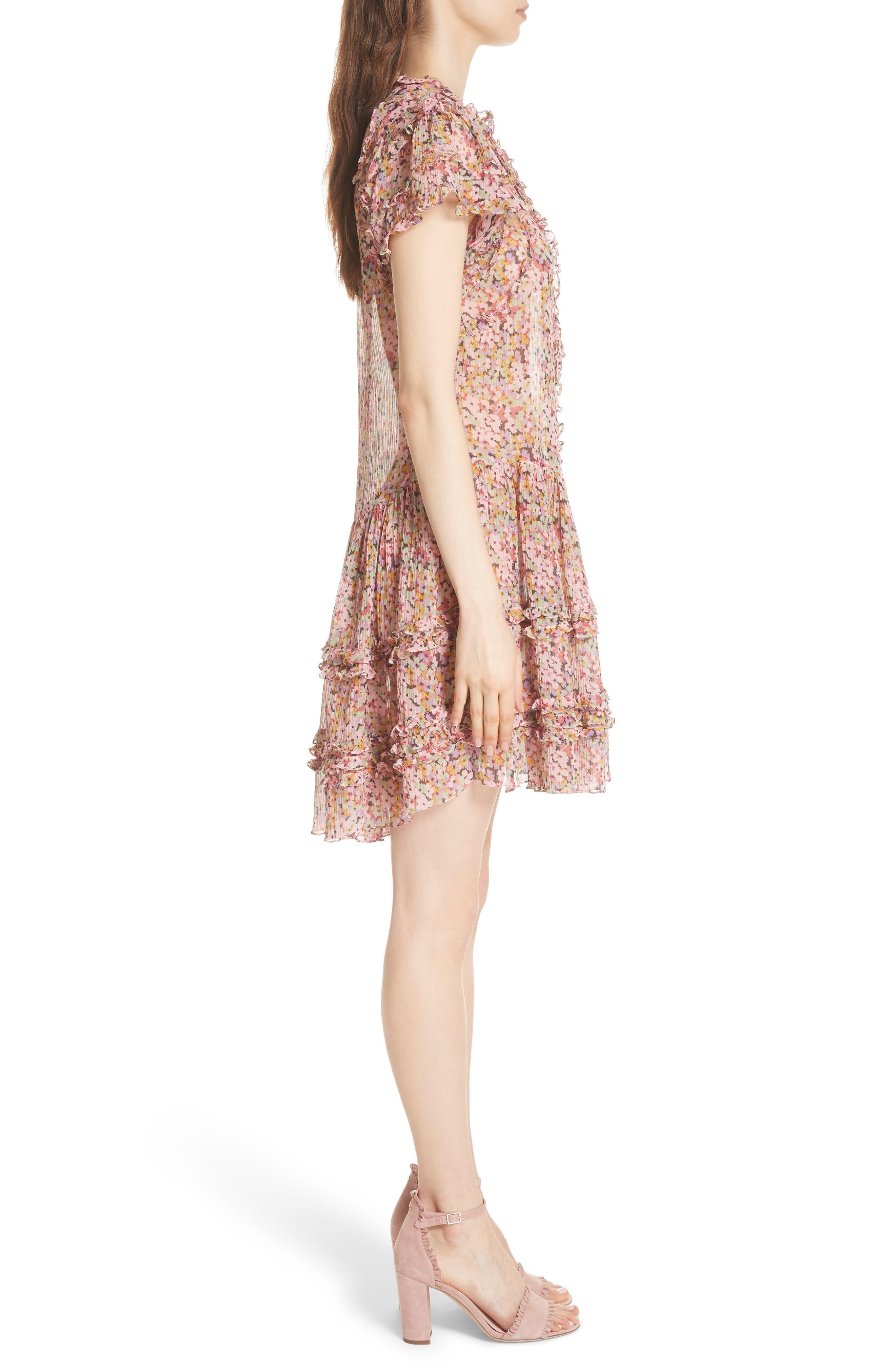Margo Ruffled Floral Drop Waist Dress,                             Alternate thumbnail 3, color,                             686