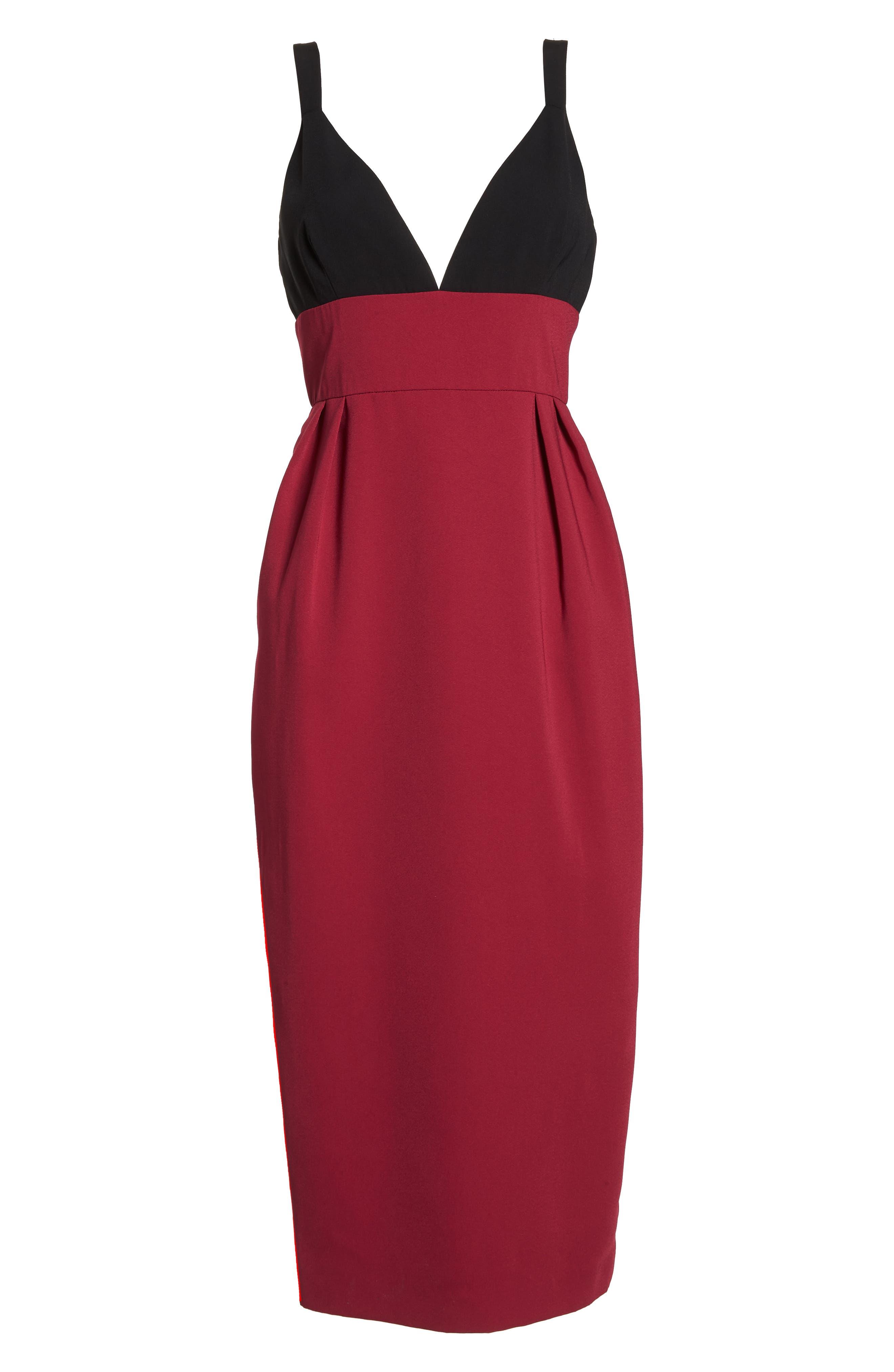 Colorblock Midi Dress,                             Alternate thumbnail 6, color,                             BLACK/ WINEBERRY