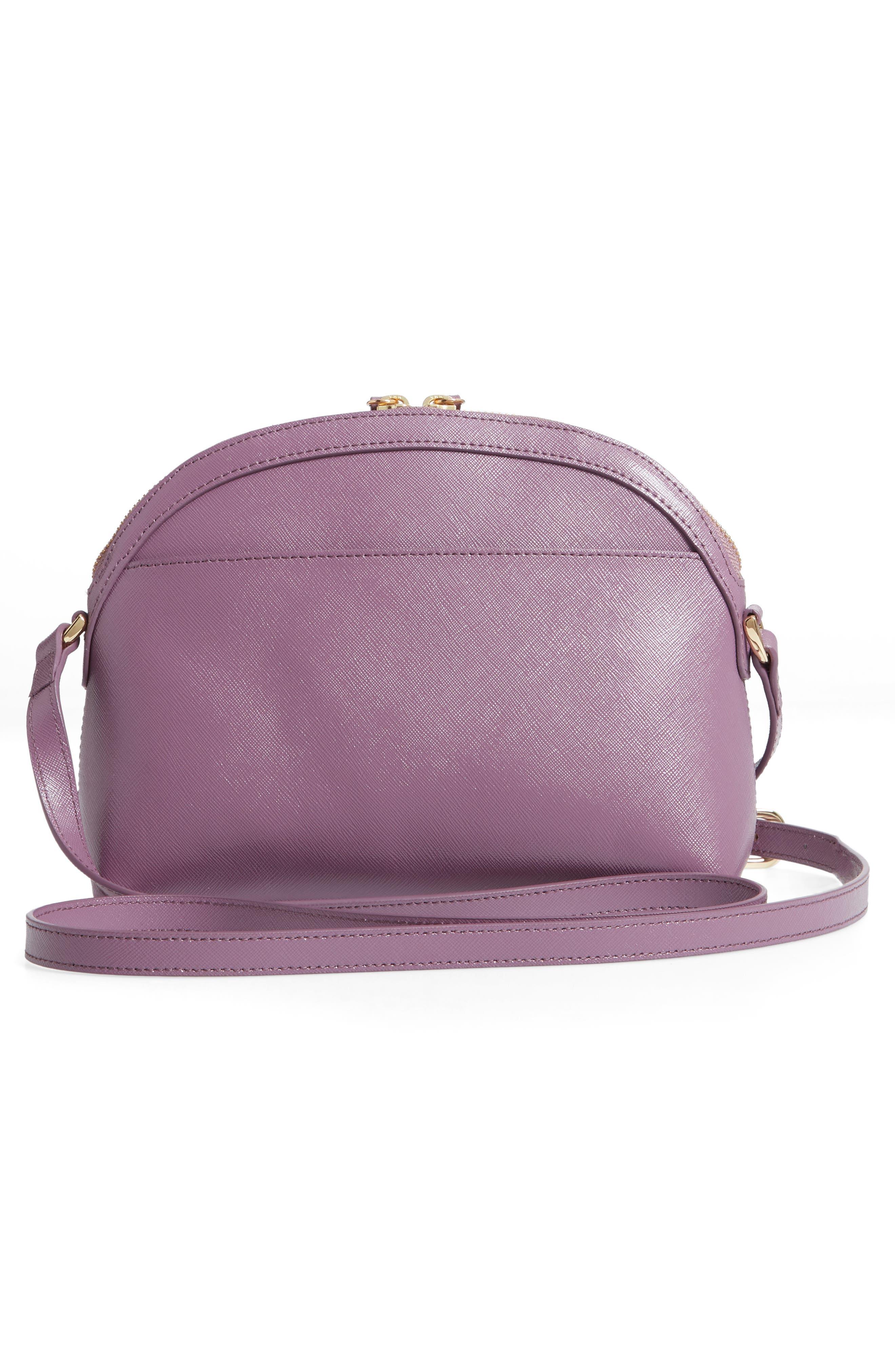 Isobel Half Moon Leather Crossbody Bag,                             Alternate thumbnail 3, color,                             PURPLE BETTA