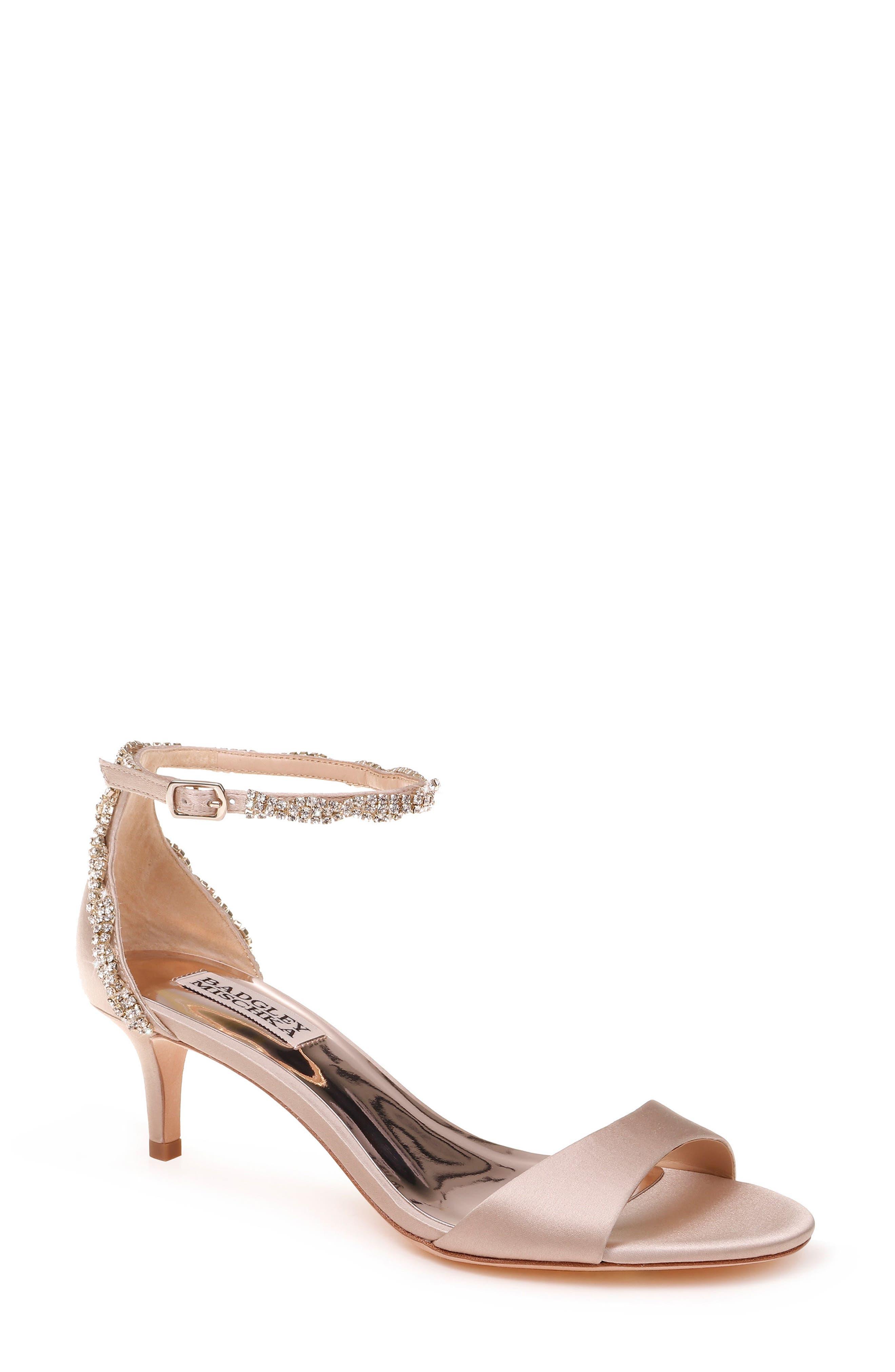 Yareli Crystal Embellished Sandal,                         Main,                         color, NUDE SATIN
