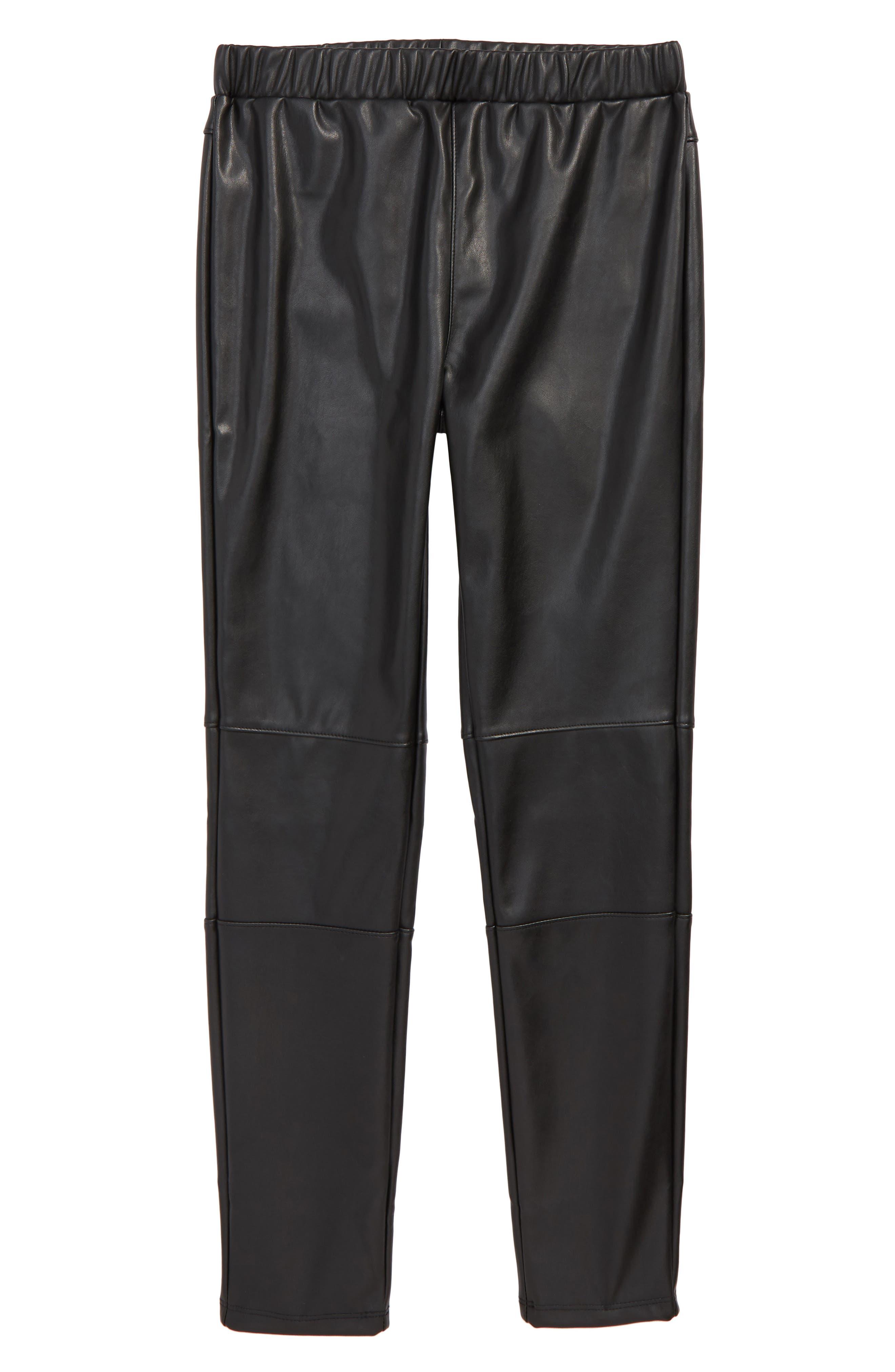 Faux Leather Leggings,                             Main thumbnail 1, color,                             BLACK